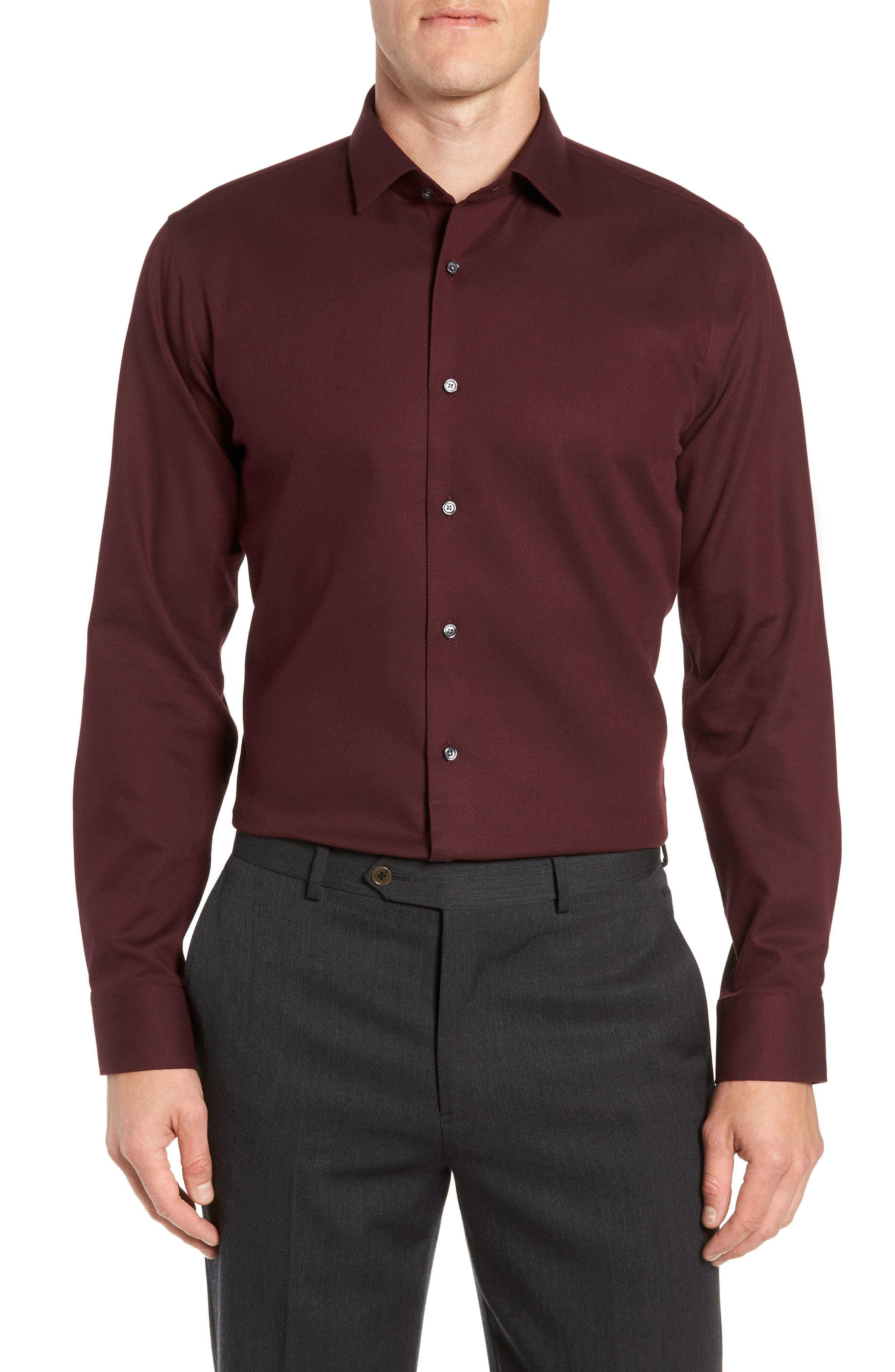 Trim Fit Non-Iron Solid Dress Shirt, Main, color, BURGUNDY ROYALE