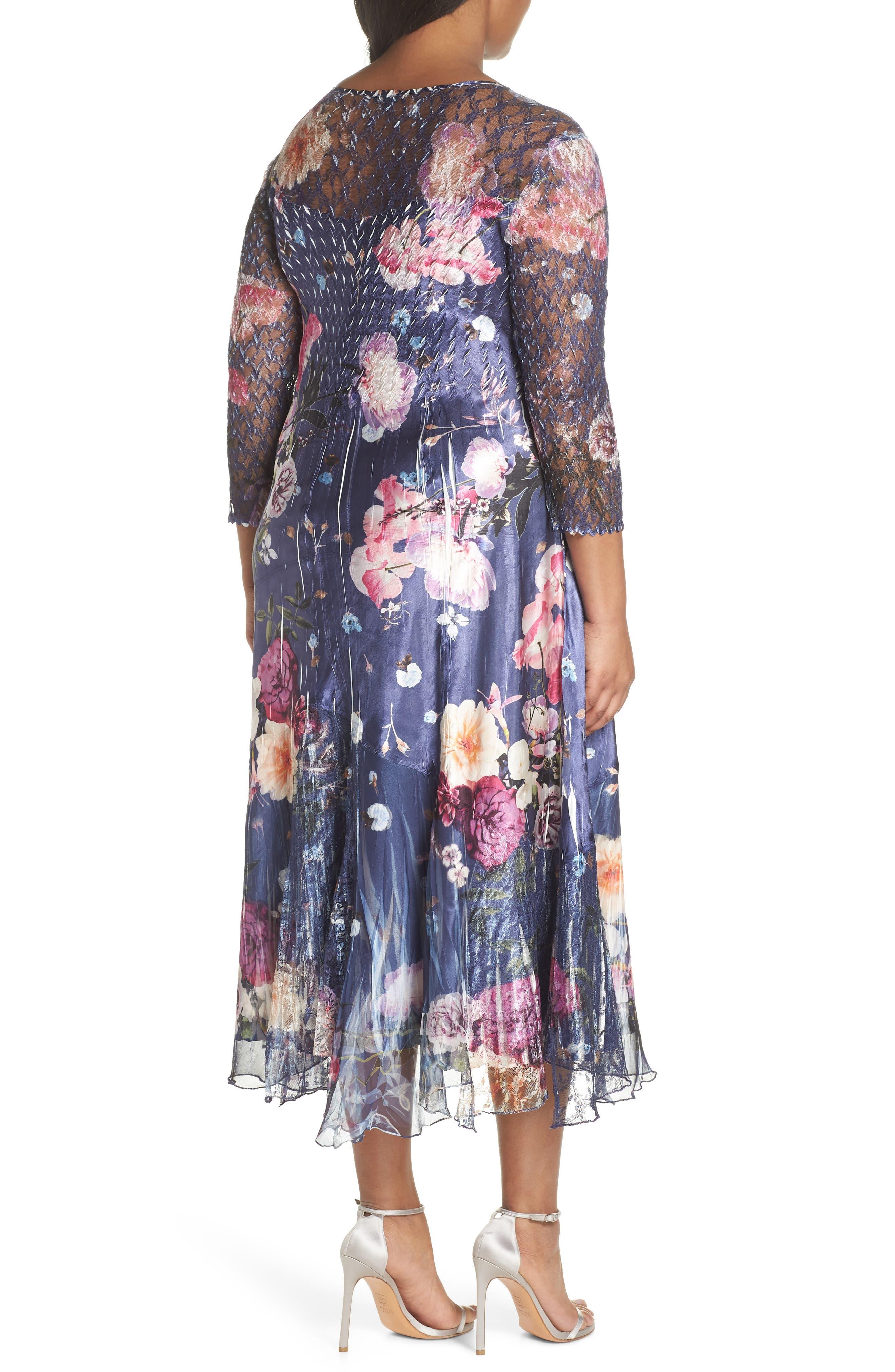 Koramov Floral Print Lace Inset Dress,                             Alternate thumbnail 2, color,                             500
