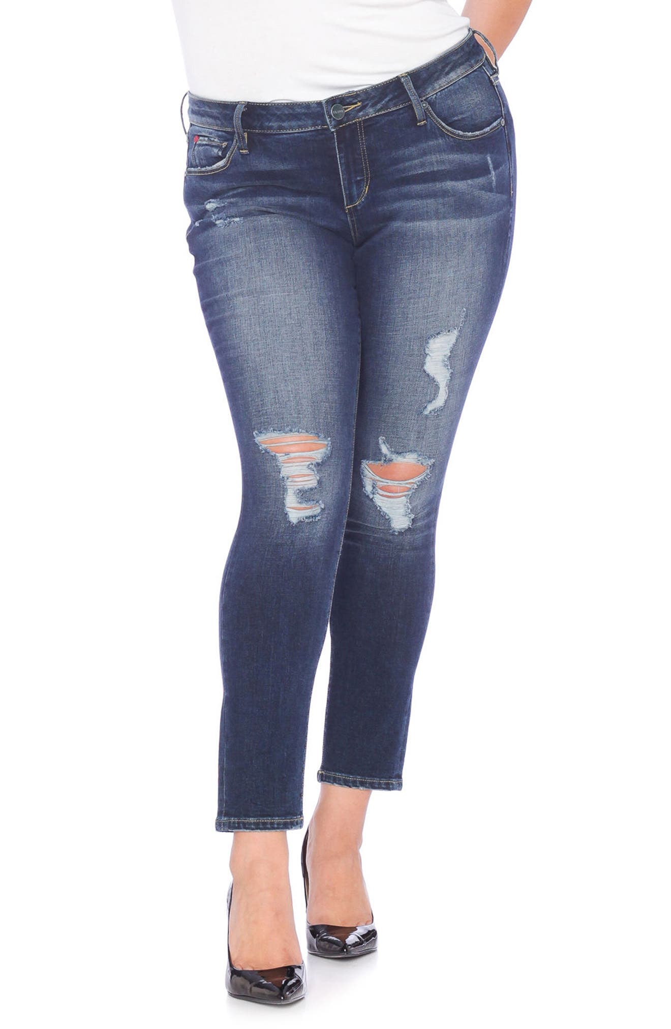 Distressed Slim Jeans,                         Main,                         color, HUNTER