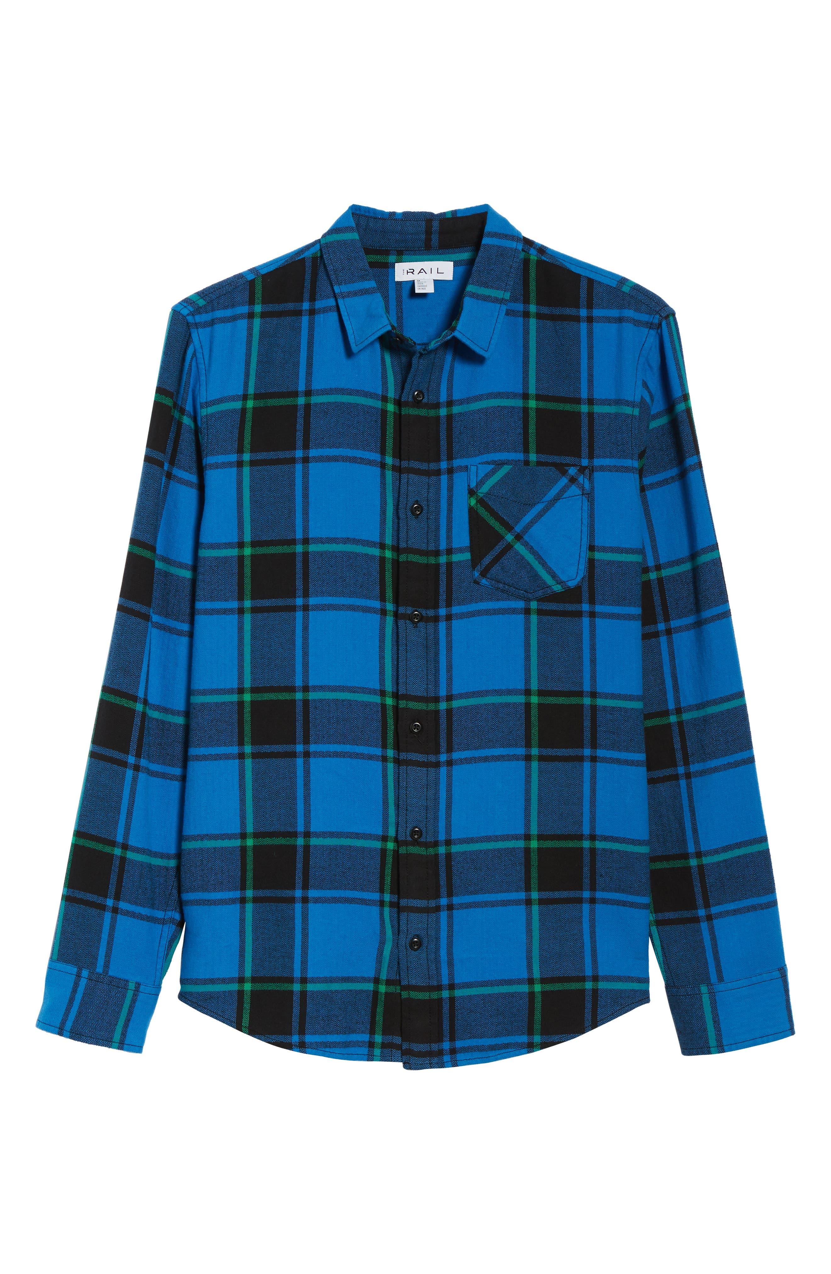 Plaid Flannel Shirt,                             Alternate thumbnail 6, color,                             BLUE BLACK REESE PLAID