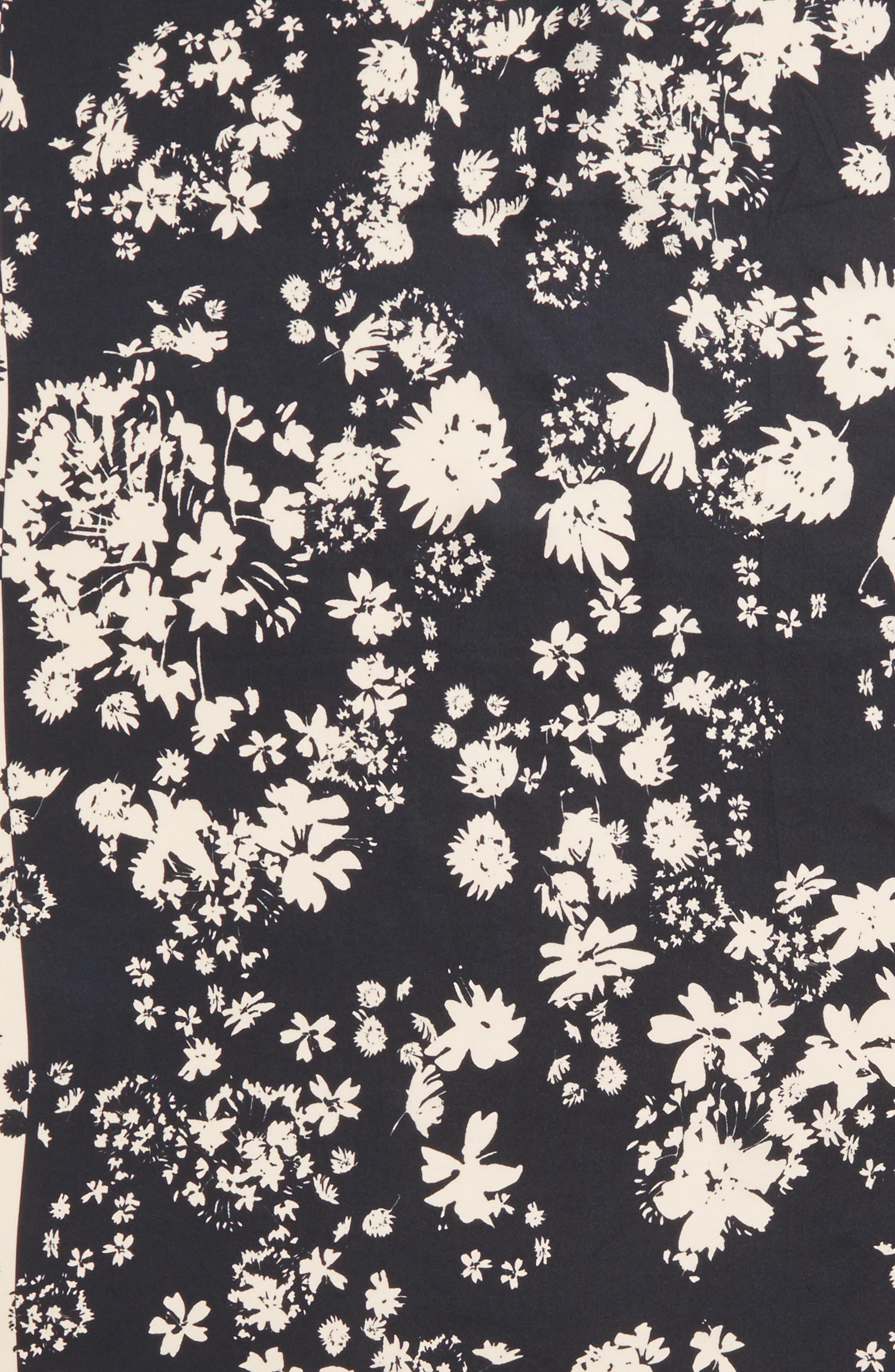 Watercolor Garden Square Silk Scarf,                             Alternate thumbnail 4, color,                             001