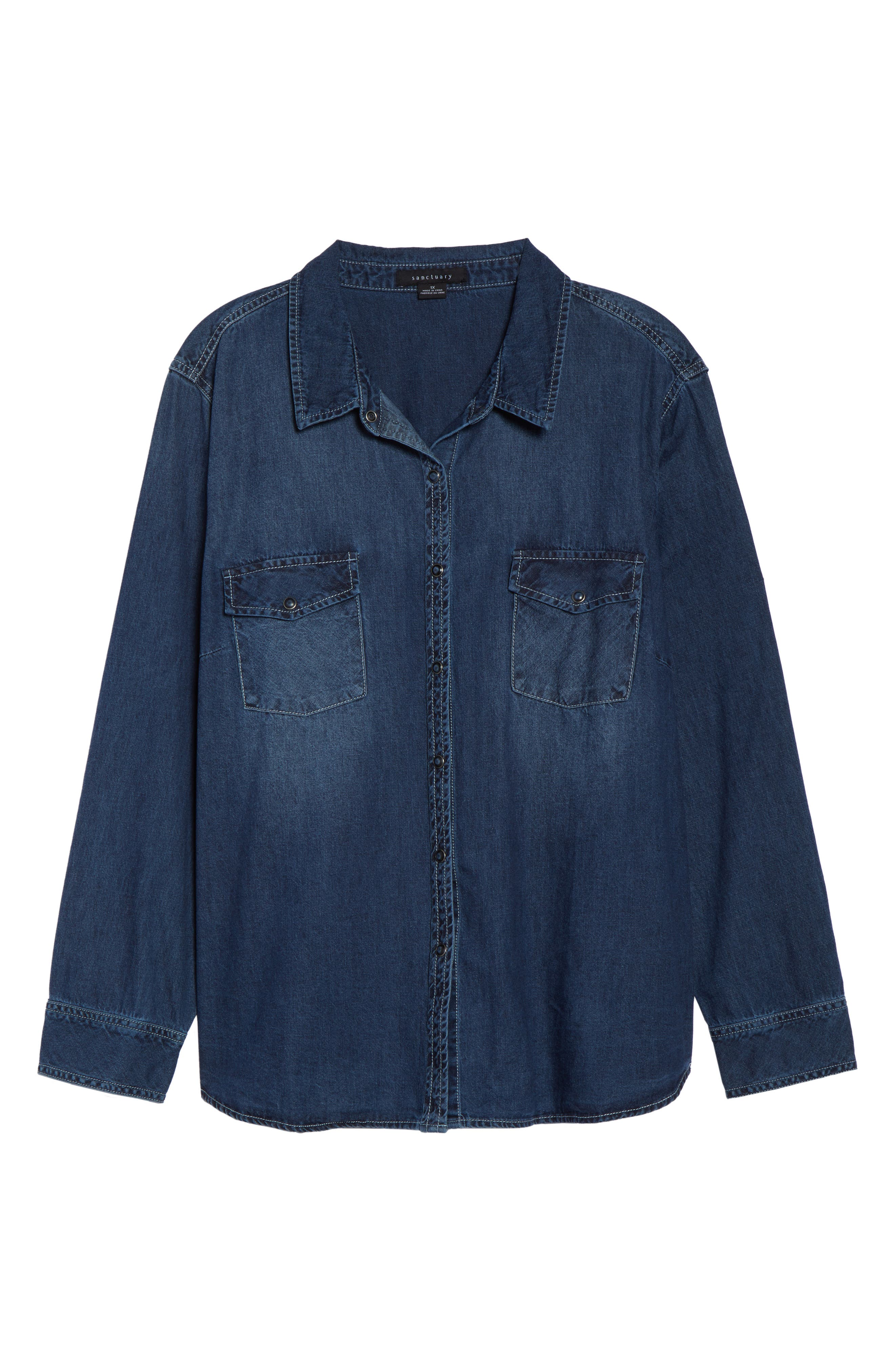 SANCTUARY,                             Denim Work Shirt,                             Alternate thumbnail 7, color,                             438