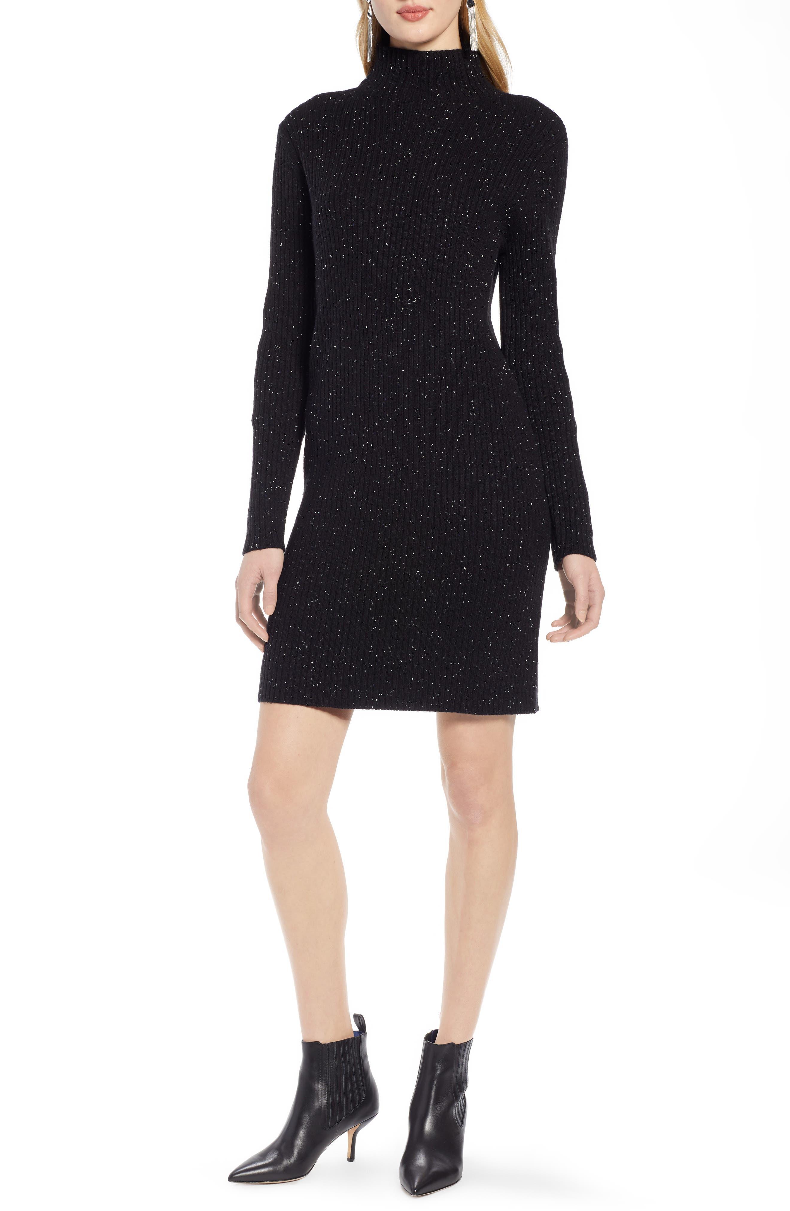 Halogen Funnel Neck Sweater Dress, Black