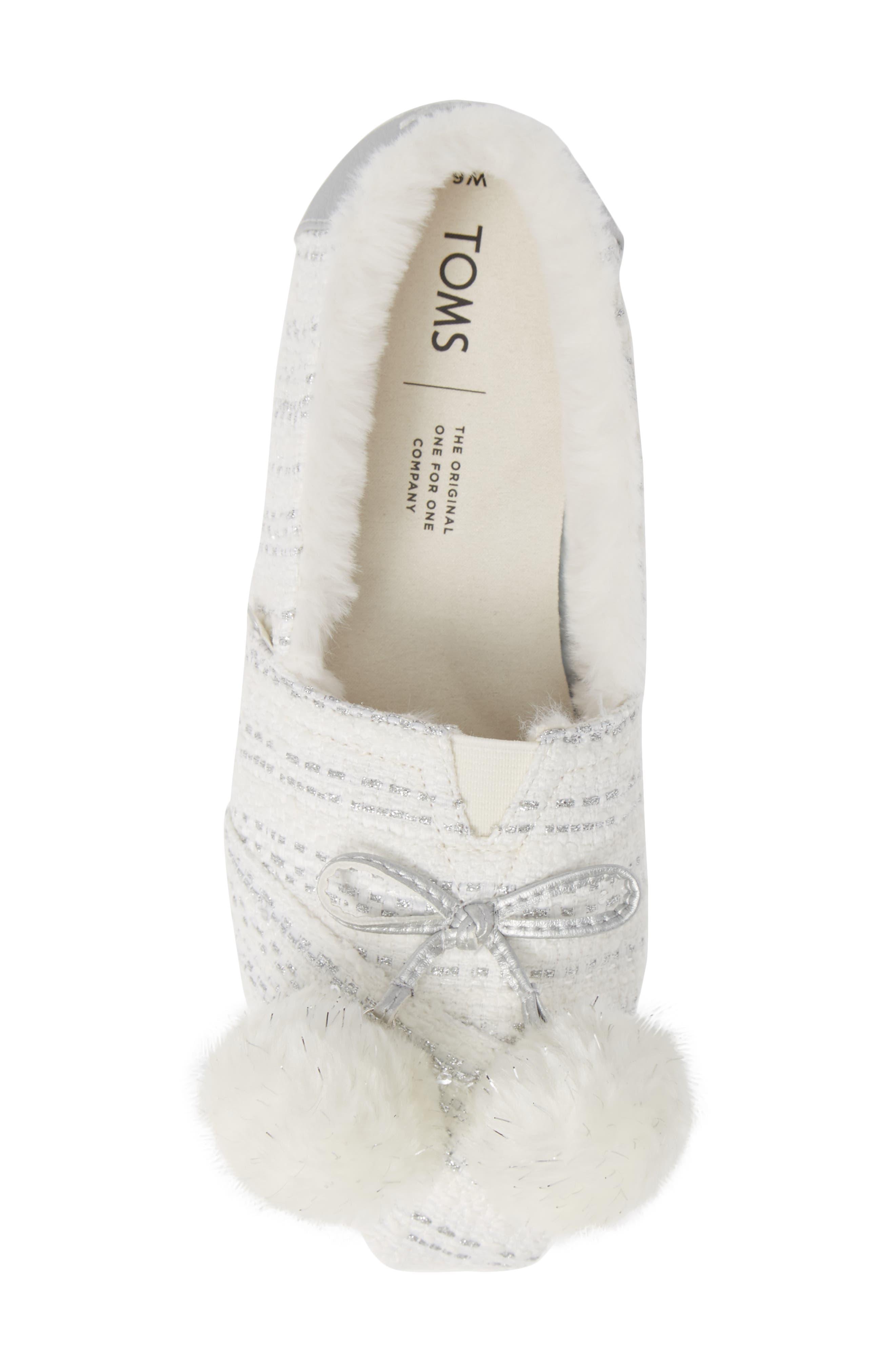 Alpargata Slip-On with Faux Fur Lining & Pompoms,                             Alternate thumbnail 5, color,                             SILVER FABRIC