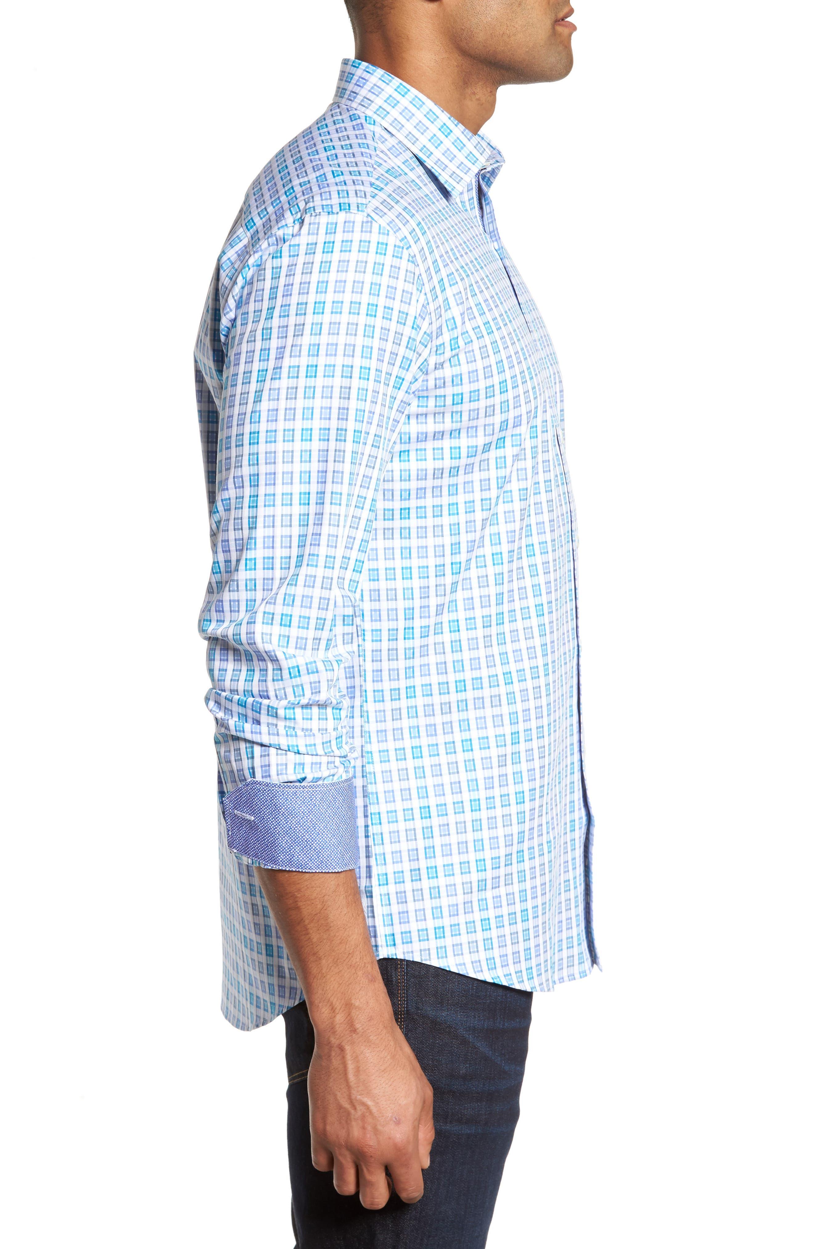 Shaped Fit Check Sport Shirt,                             Alternate thumbnail 3, color,                             424
