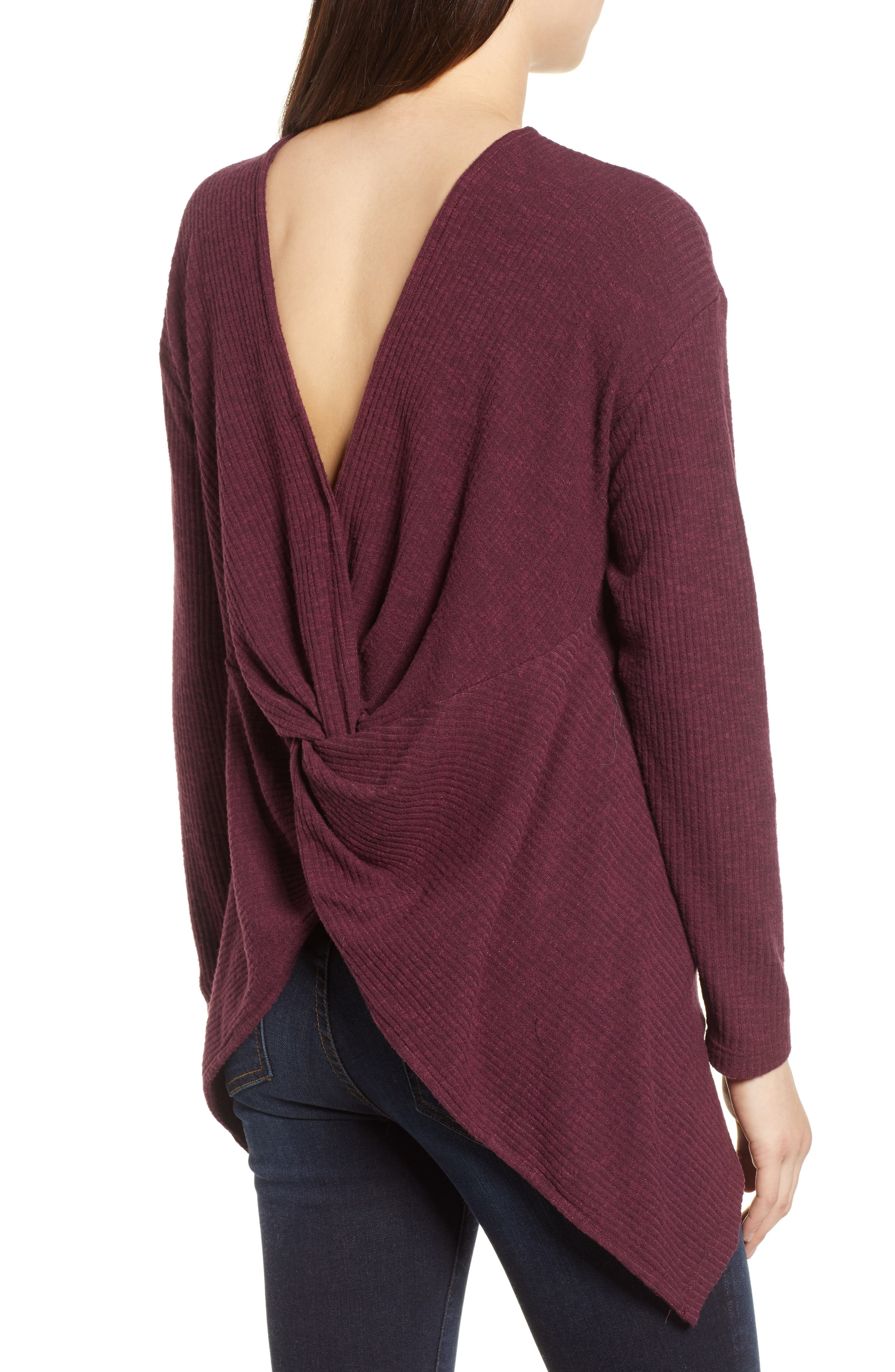 Ribbed Cozy Fleece Twist Back Top,                             Alternate thumbnail 8, color,