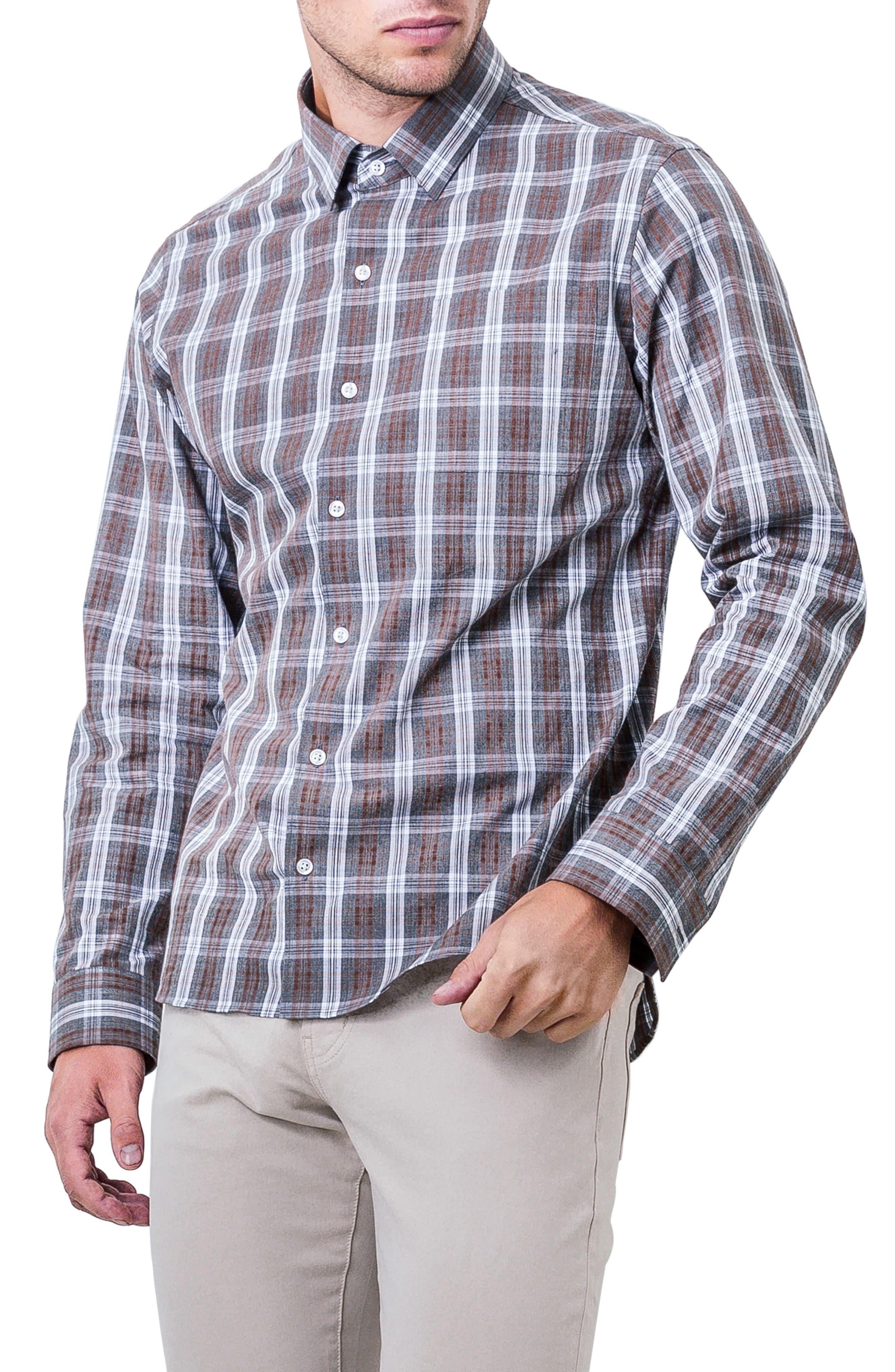 Majesty Plaid Woven Shirt,                             Main thumbnail 1, color,                             BROWN
