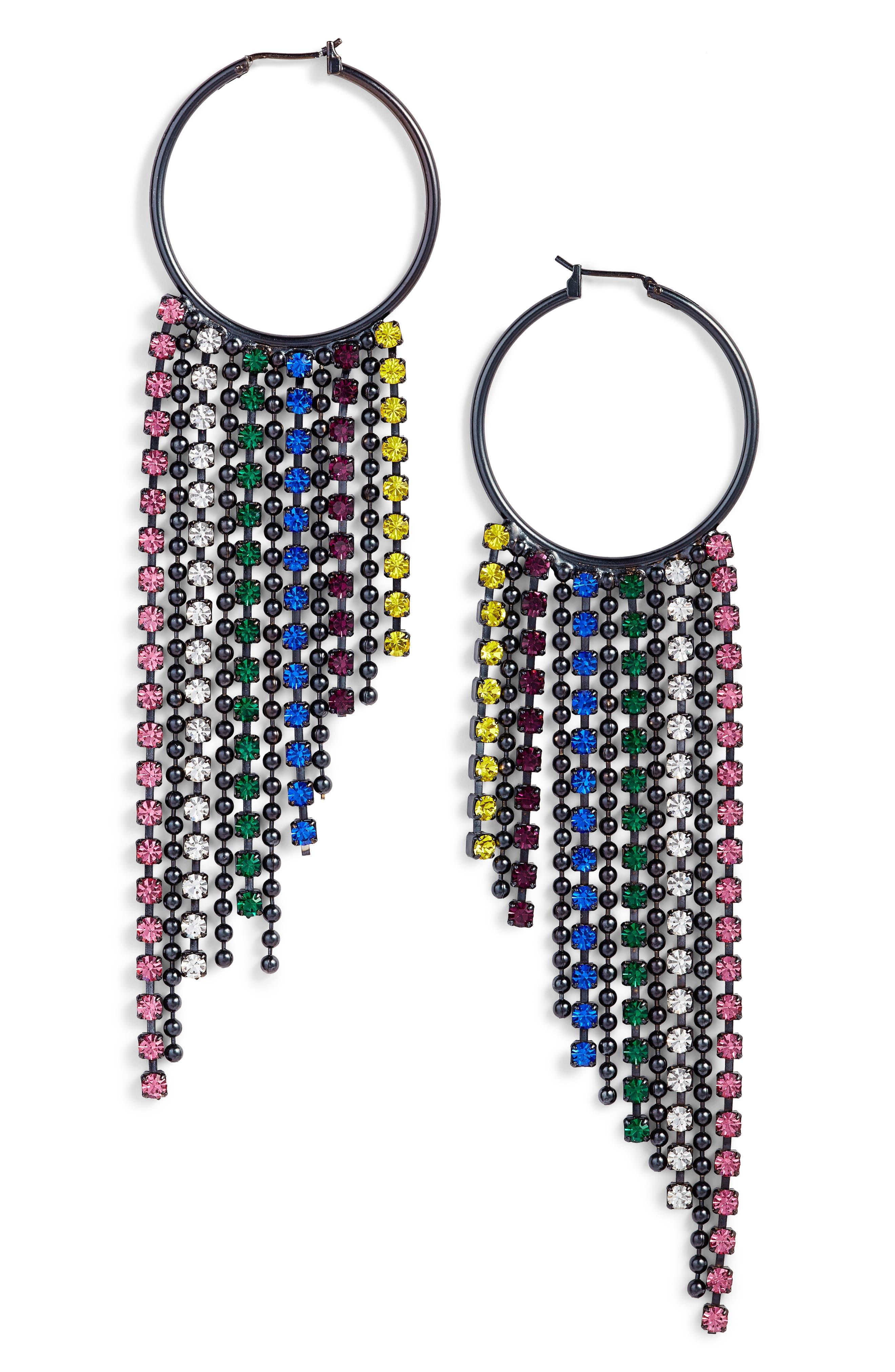 Joanna Fringe Hoop Earrings,                             Main thumbnail 2, color,