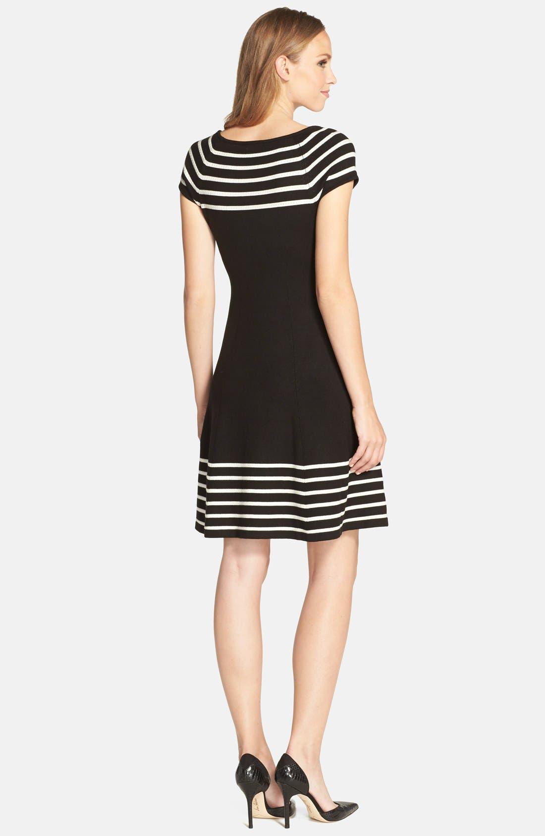 Stripe Knit Flared Dress,                             Alternate thumbnail 9, color,                             001