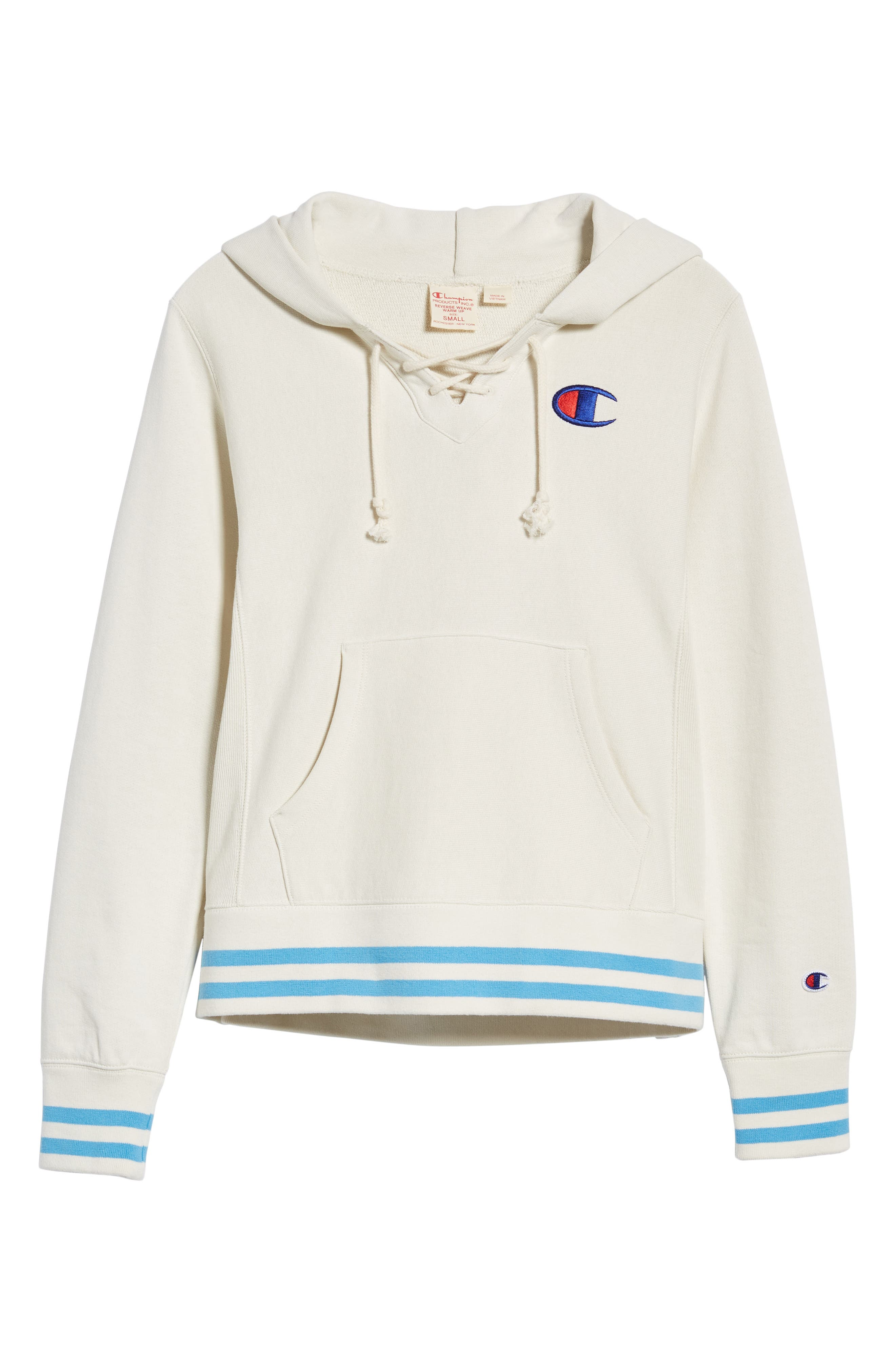 CHAMPION,                             Lace-Up Terry Hoodie,                             Alternate thumbnail 7, color,                             110