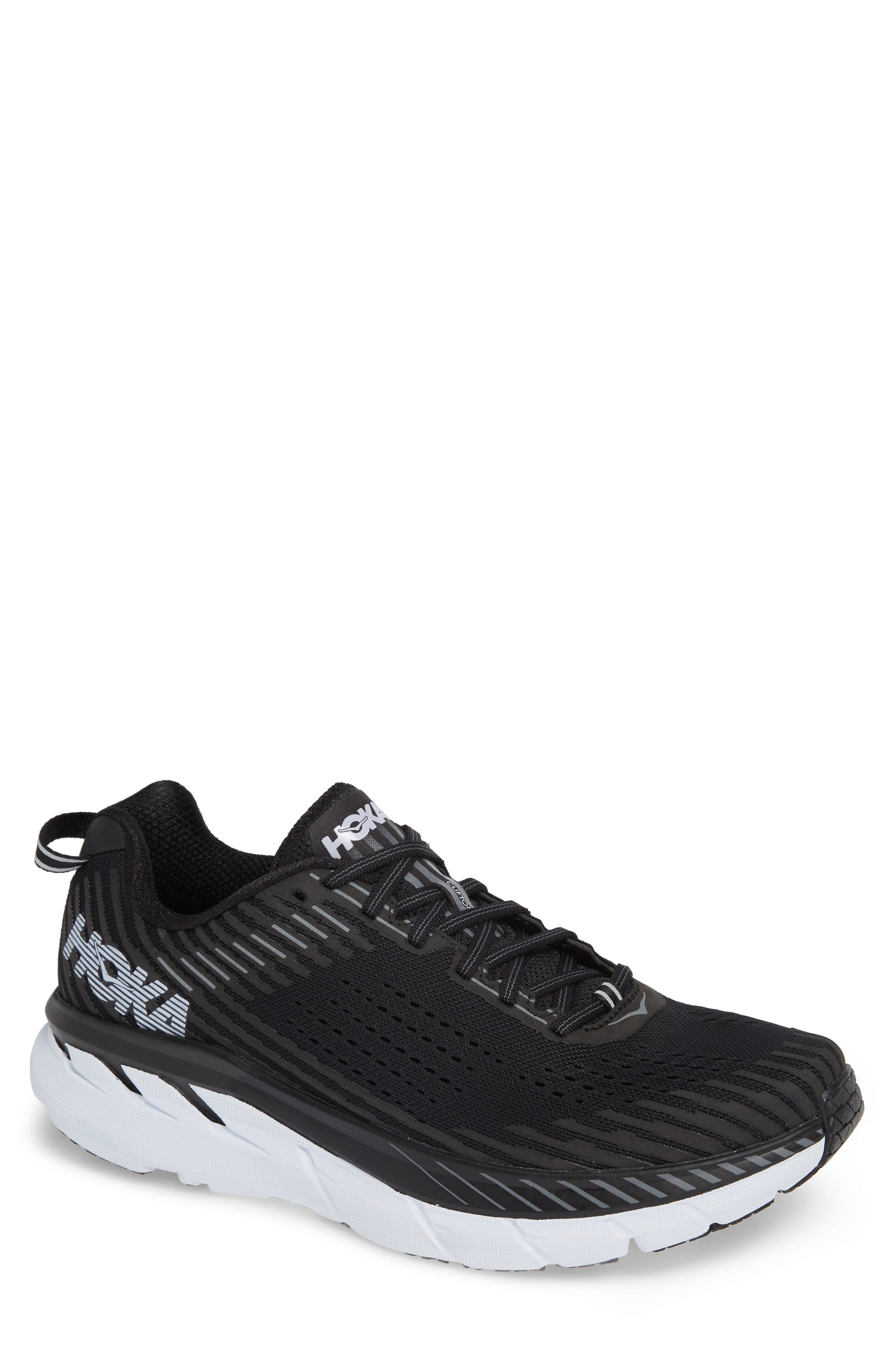 Clifton 5 Running Shoe,                         Main,                         color, BLACK/ WHITE