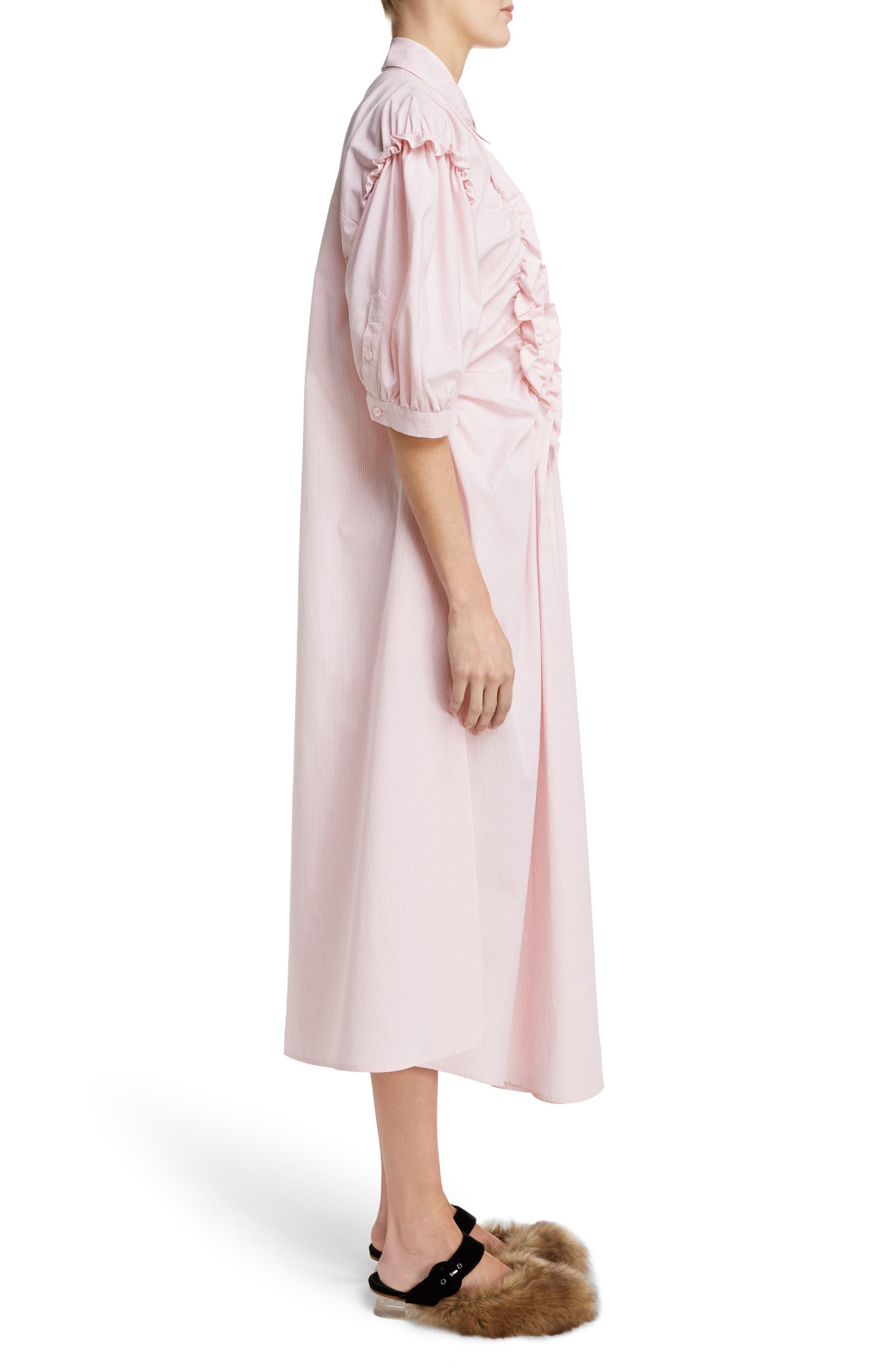 Stripe Frill Shirtdress,                             Alternate thumbnail 3, color,                             650
