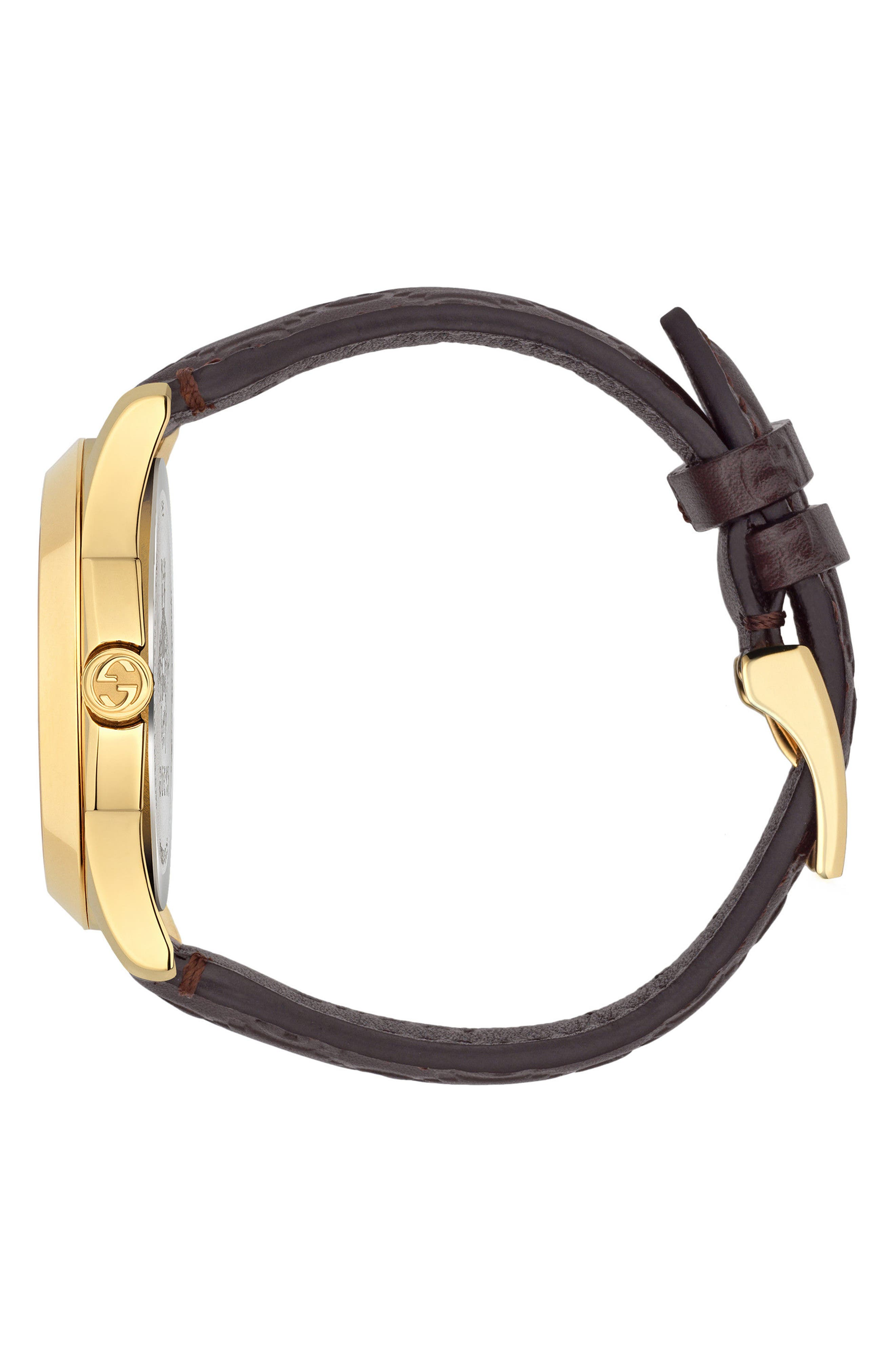 G-Timeless Leather Strap Watch, 38mm,                             Alternate thumbnail 6, color,
