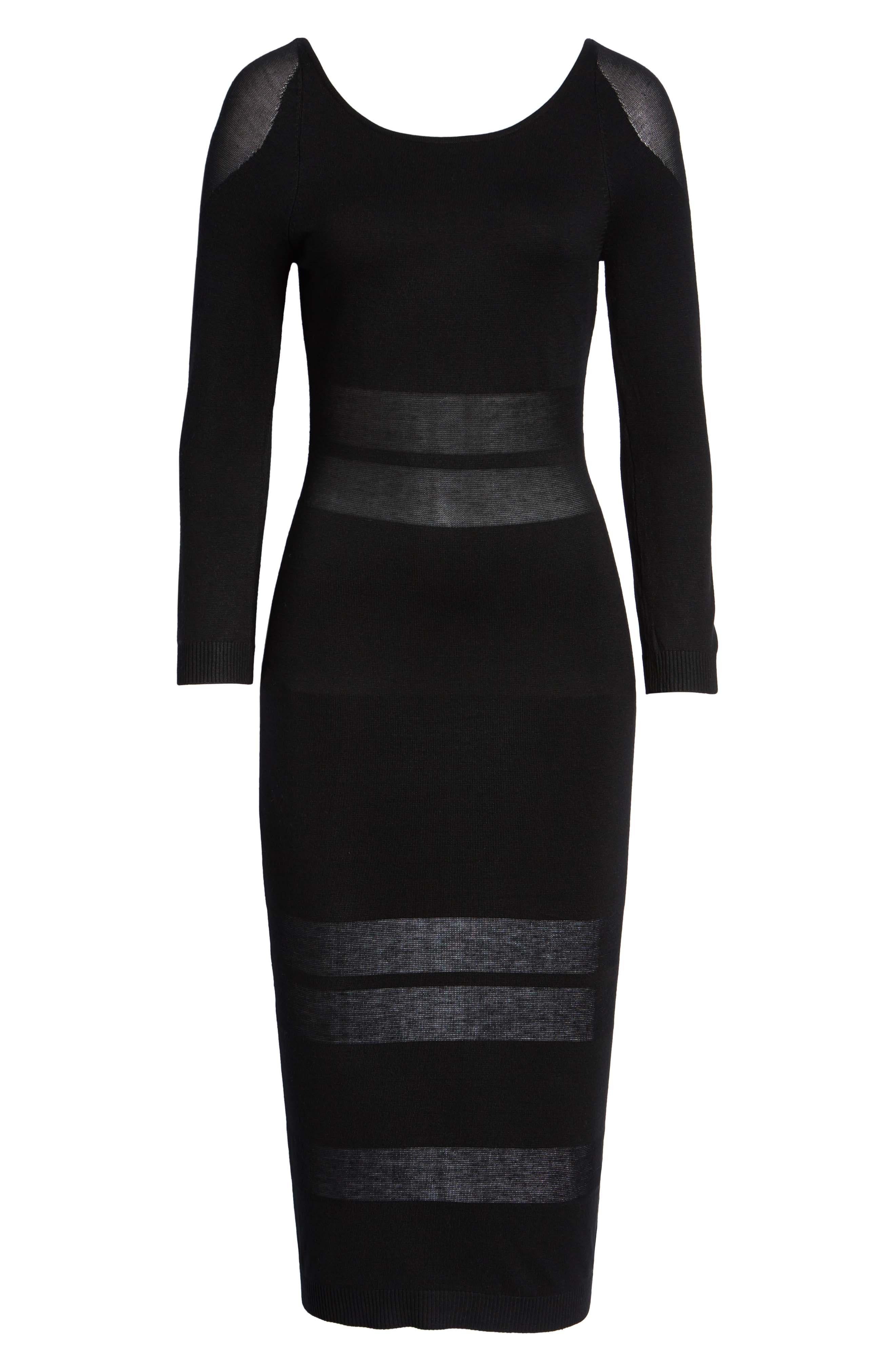 Illusion Stripe Midi Dress,                             Alternate thumbnail 7, color,                             BLACK