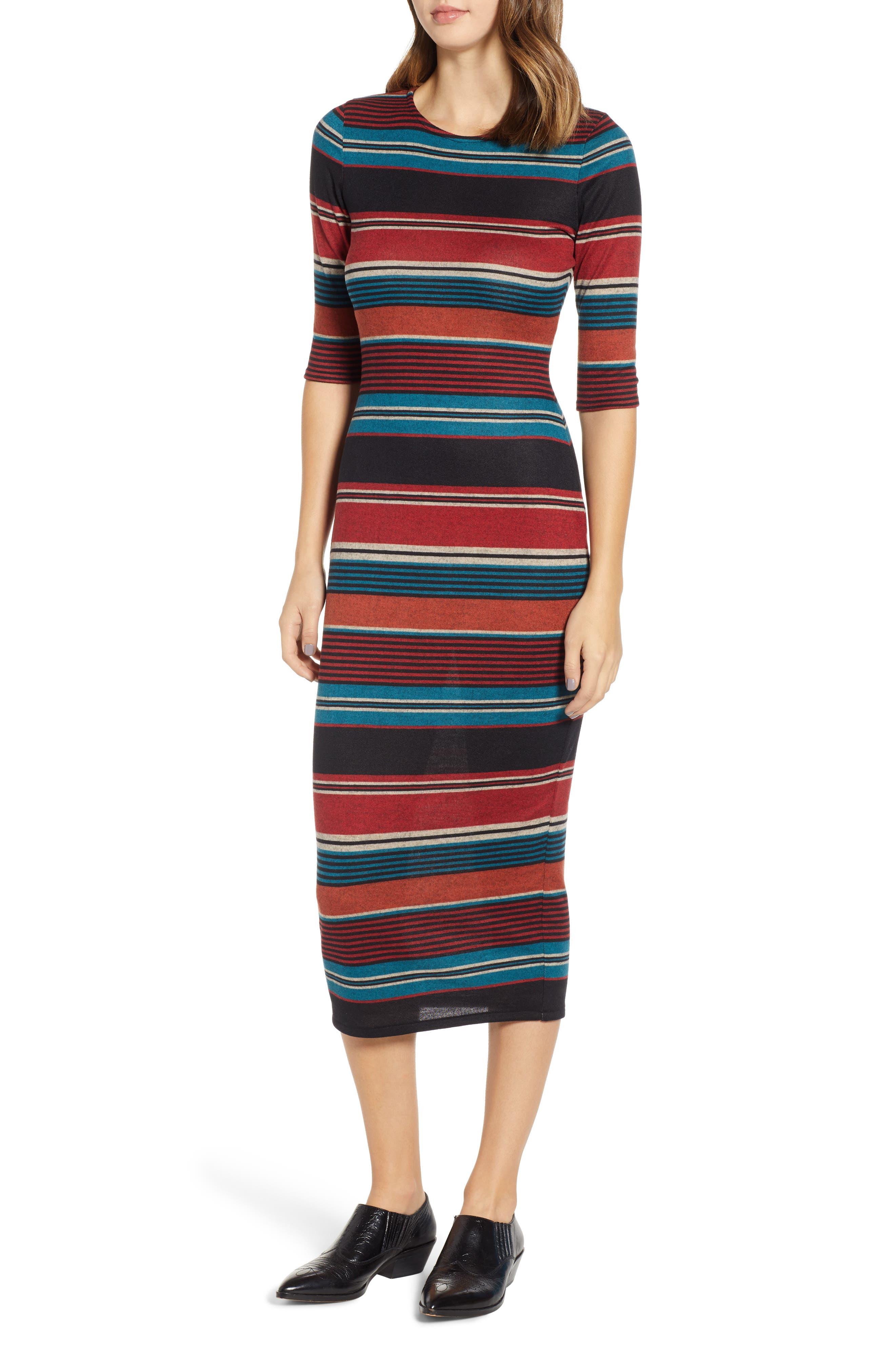Knit Stripe Midi Dress,                             Main thumbnail 1, color,                             TEAL STRIPE