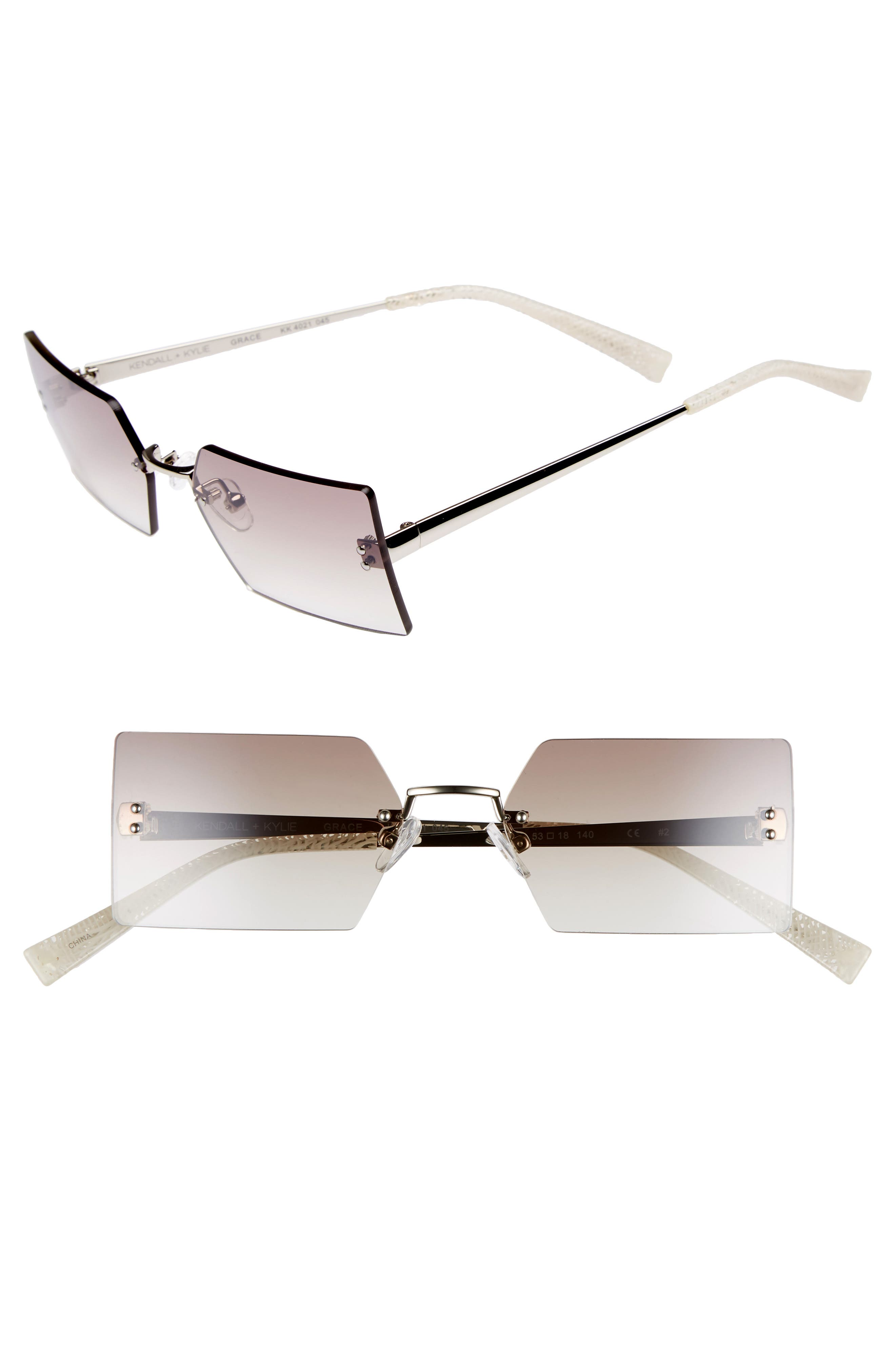 Grace 53mm Rimless Rectangular Sunglasses,                             Main thumbnail 1, color,                             SILVER/ BROWN/ CLEAR GRADIENT
