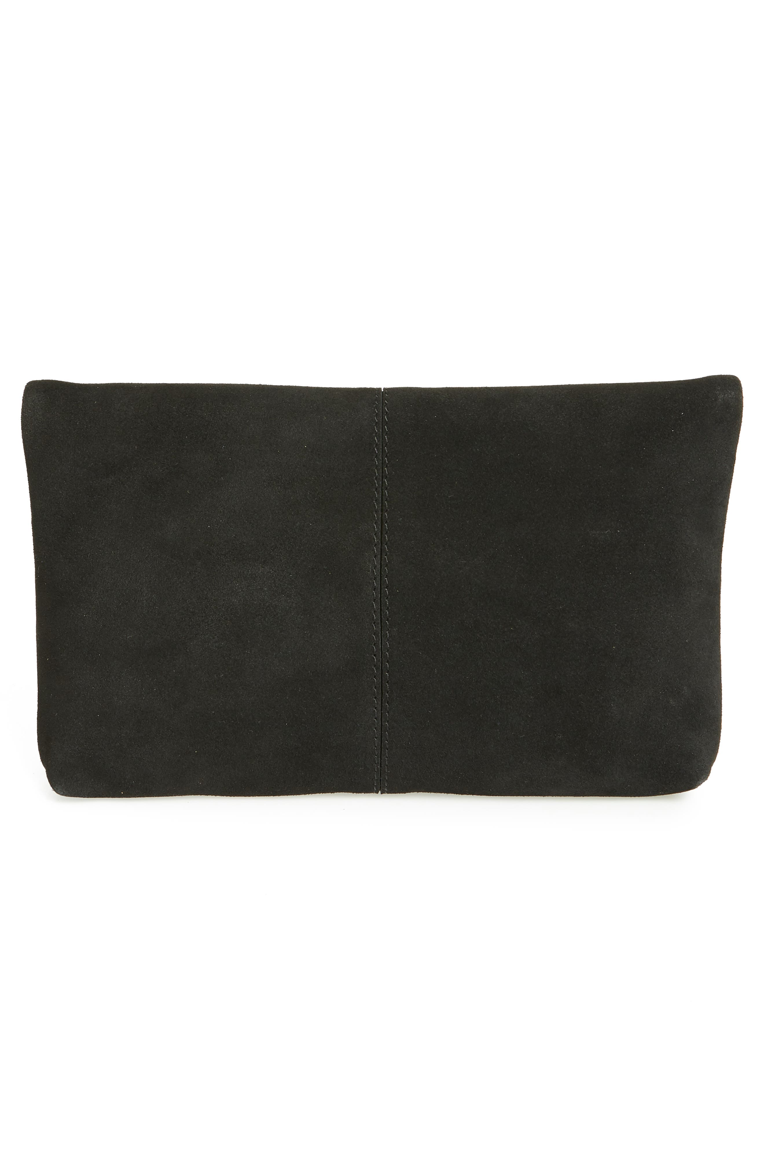 Suede Clutch,                             Alternate thumbnail 3, color,                             BLACK