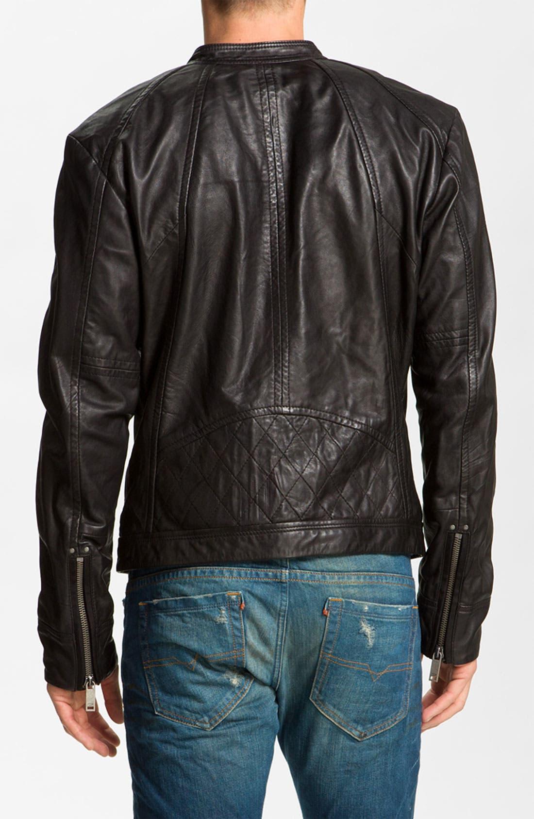 DIESEL<SUP>®</SUP>,                             'Leide' Extra Trim Fit Crinkled Leather Jacket,                             Alternate thumbnail 2, color,                             001