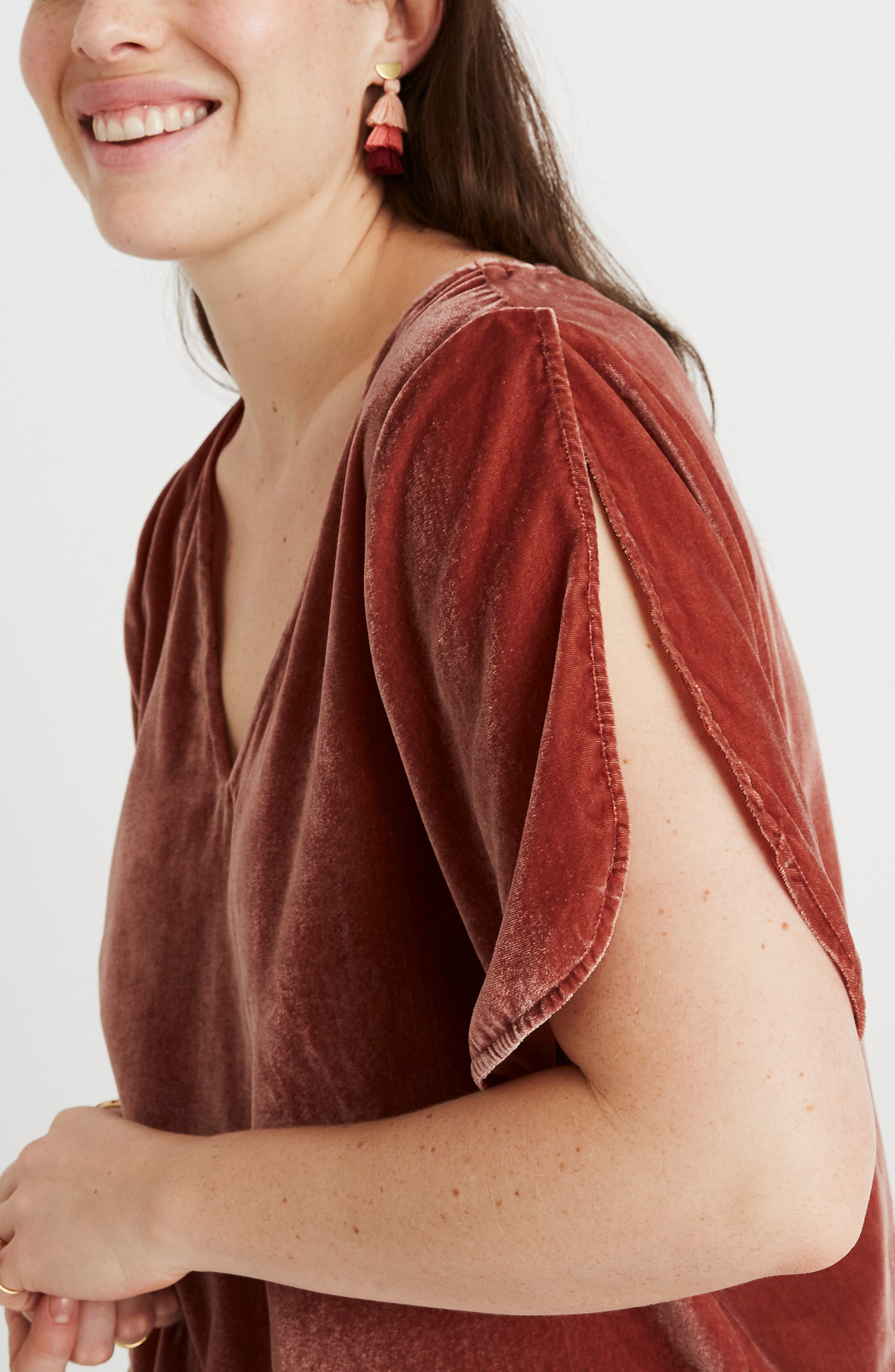 Ruffle Tulip Sleeve Velvet Top,                             Alternate thumbnail 9, color,                             AFTERGLOW RED