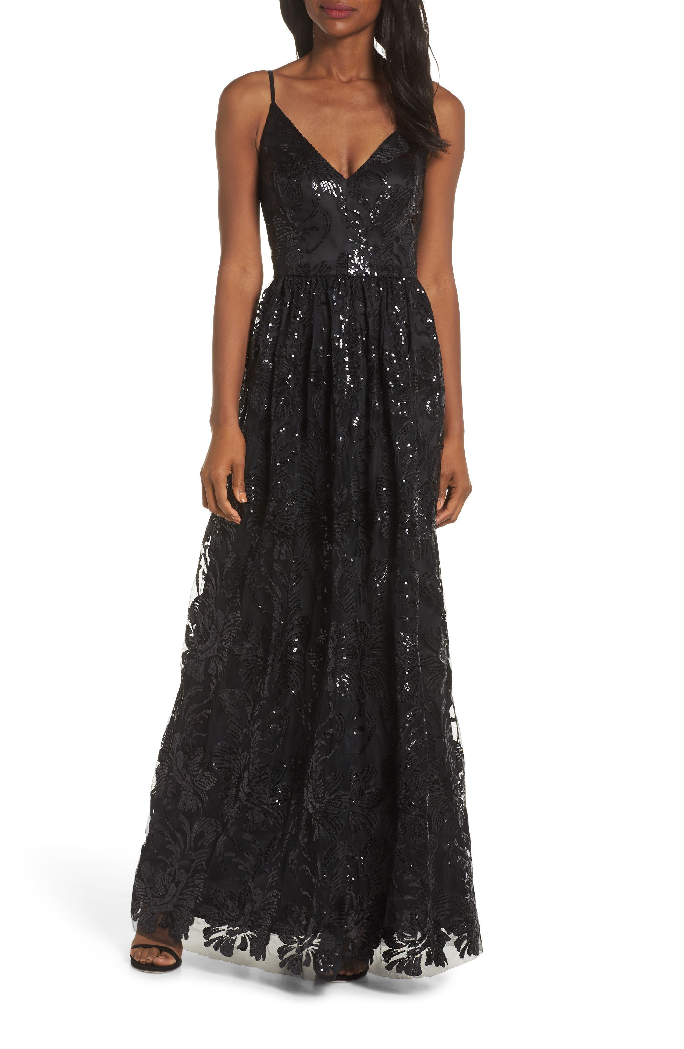 Eliza J Sequin Embroidered Mesh Evening Dress, Black