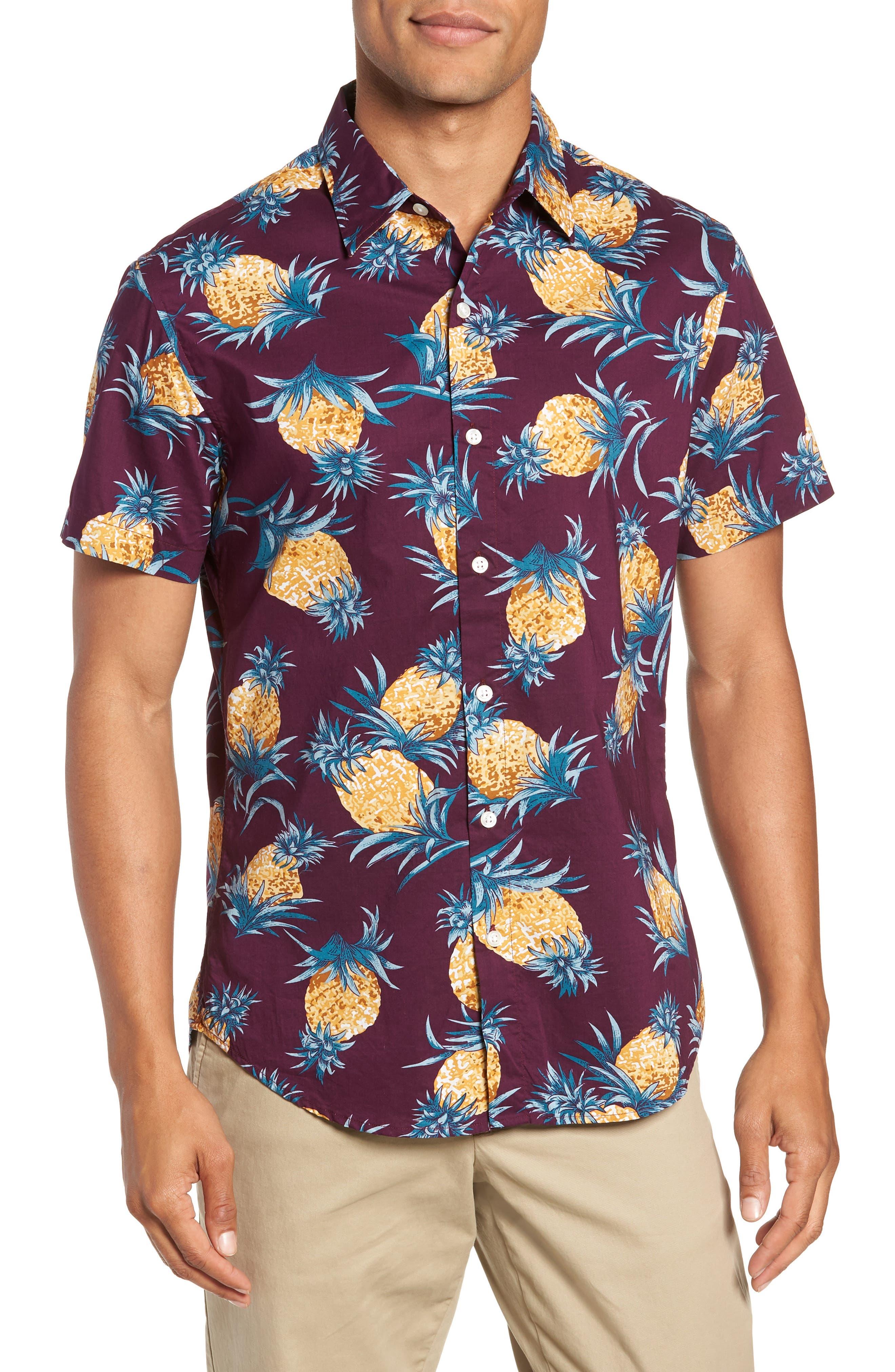Riviera Slim Fit Pineapple Print Sport Shirt,                         Main,                         color, 500