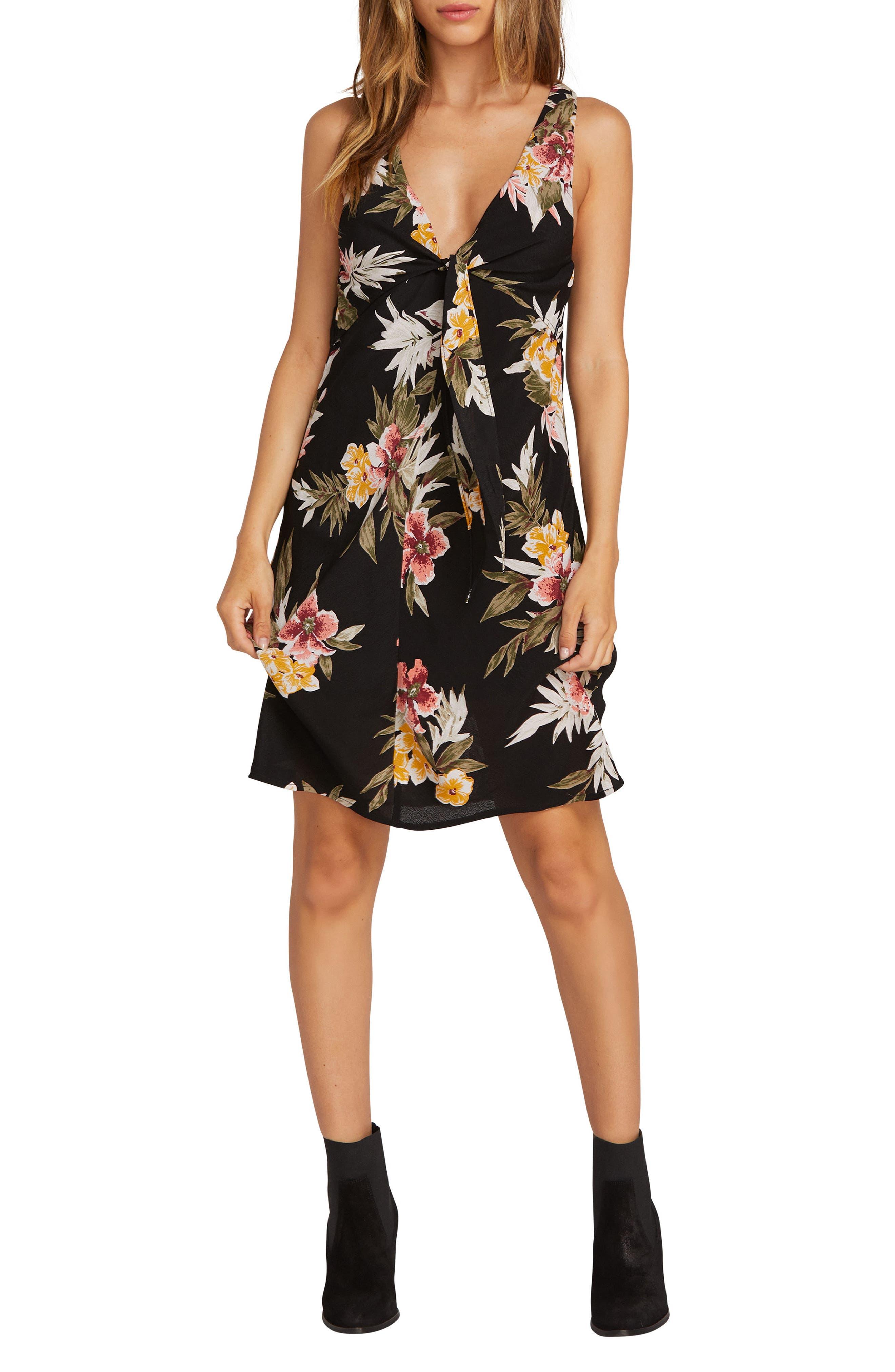 Volcom Wrap Skillz Floral Print Dress, Black