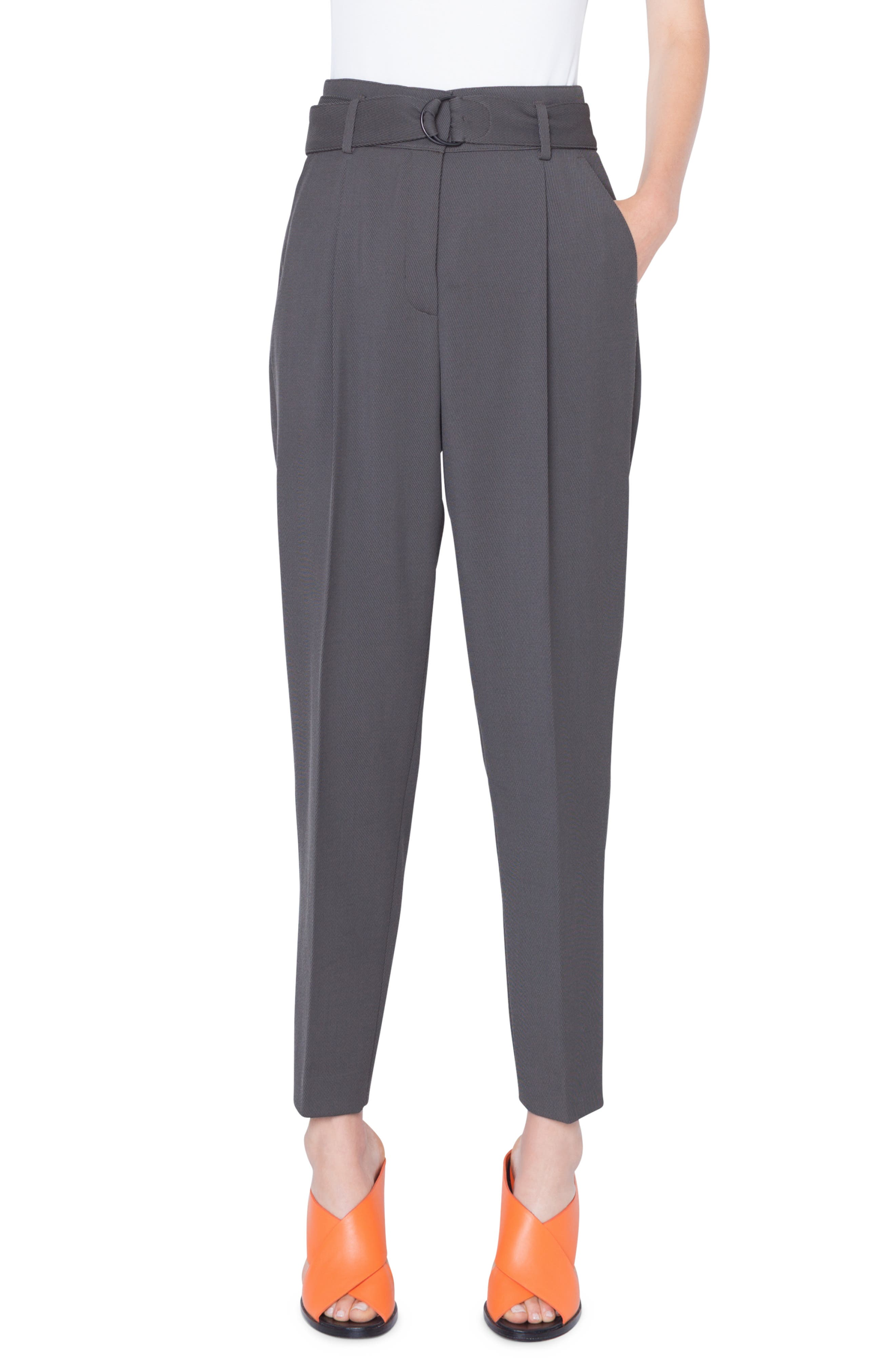 Fred Belted Cropped Wool Tricot Pants in Oliva