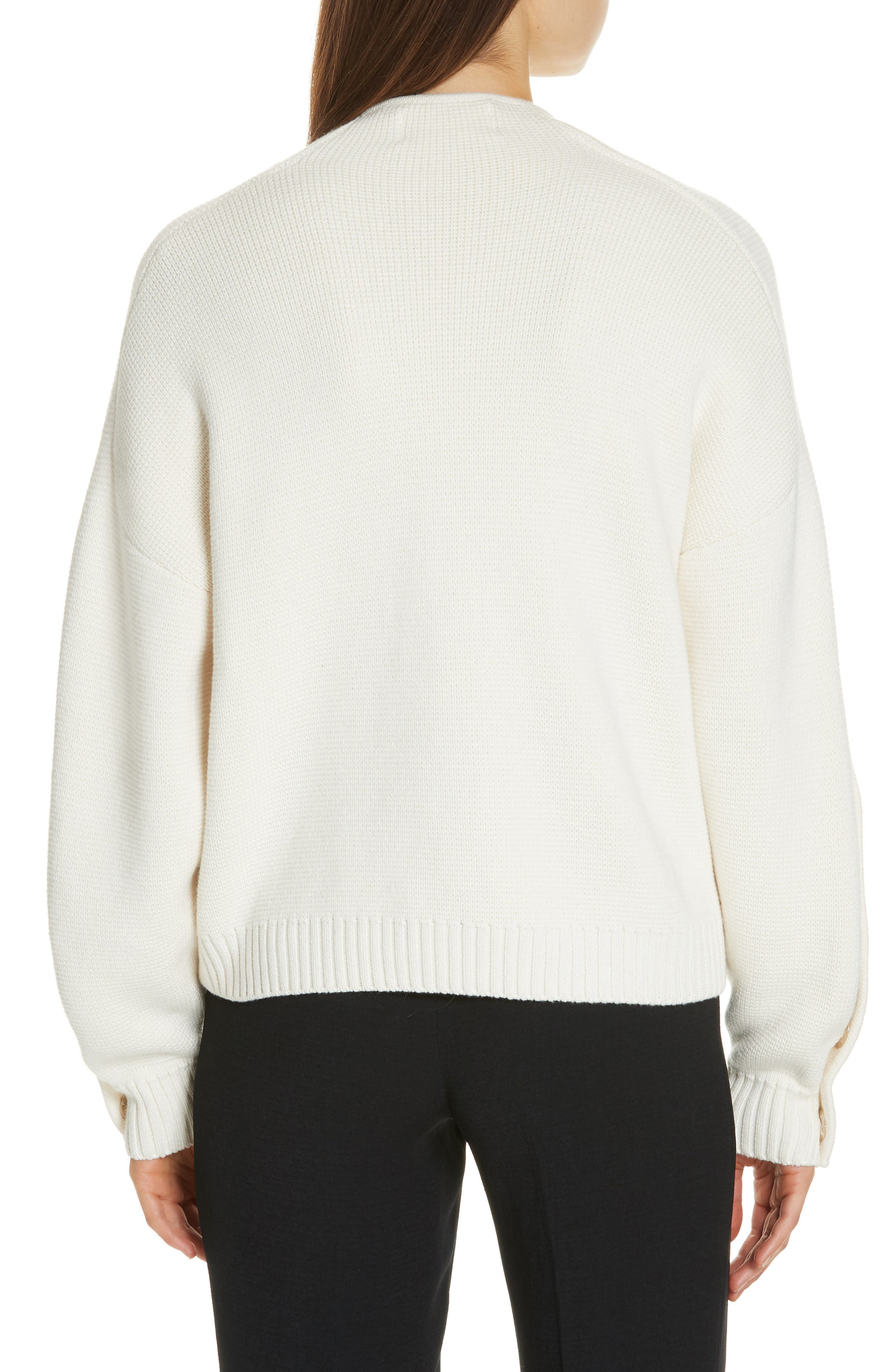 Astana Button Sleeve Waffle Weave Cotton Wool Sweater,                             Alternate thumbnail 2, color,                             900