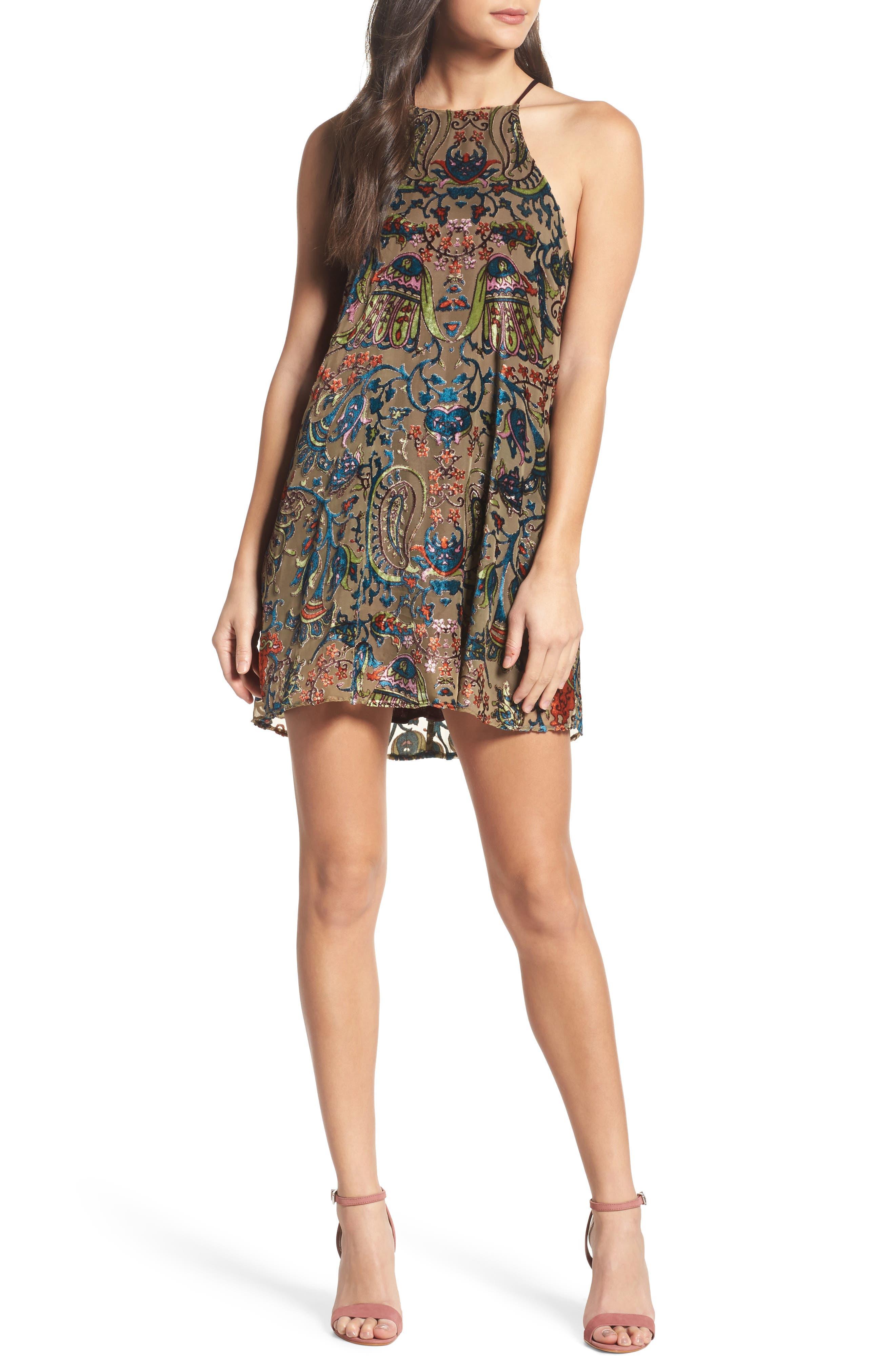 Burnout Velvet Dress,                             Main thumbnail 1, color,                             302