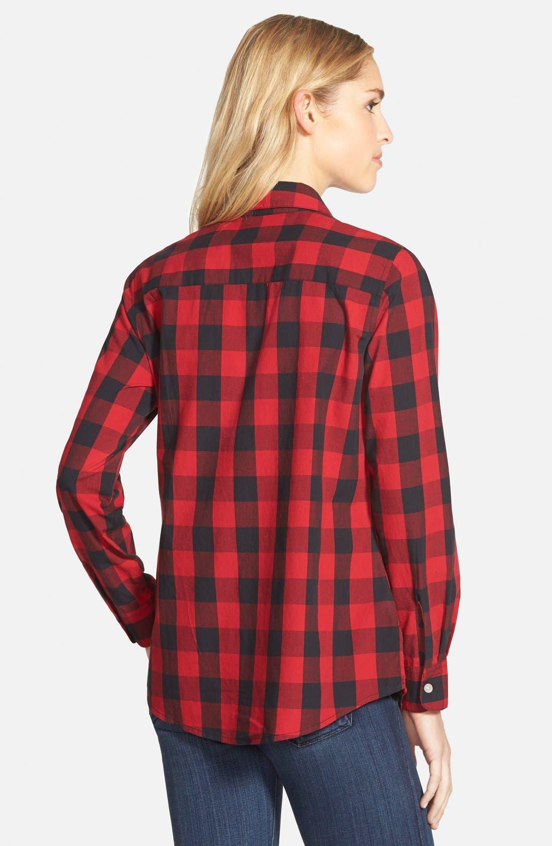 FOXCROFT,                             Buffalo Check Cotton Shirt,                             Alternate thumbnail 3, color,                             640