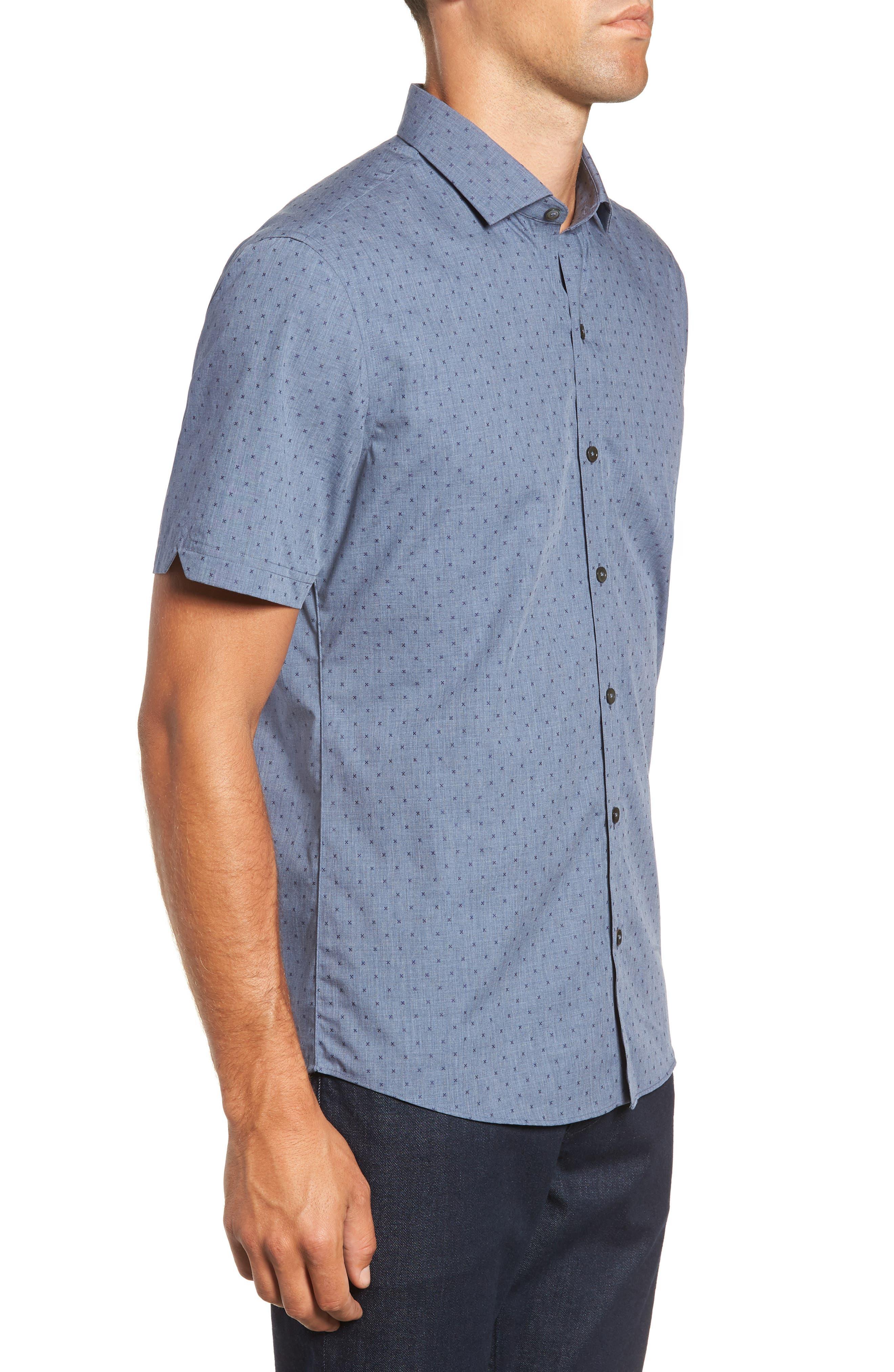 Huang Regular Fit Dobby Sport Shirt,                             Alternate thumbnail 4, color,                             DENIM