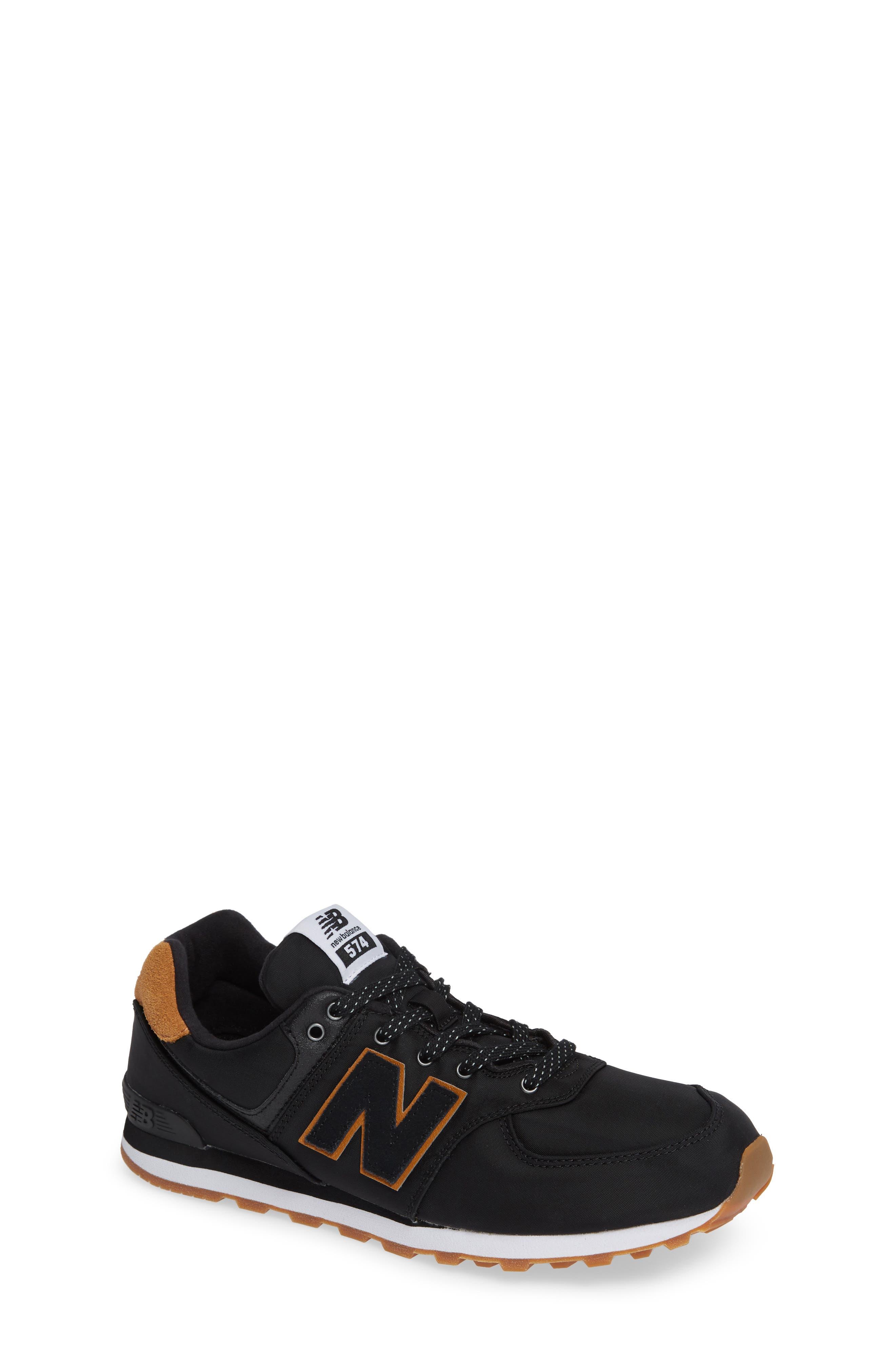 574 Essentials Sneaker,                         Main,                         color, BLACK/ WHITE