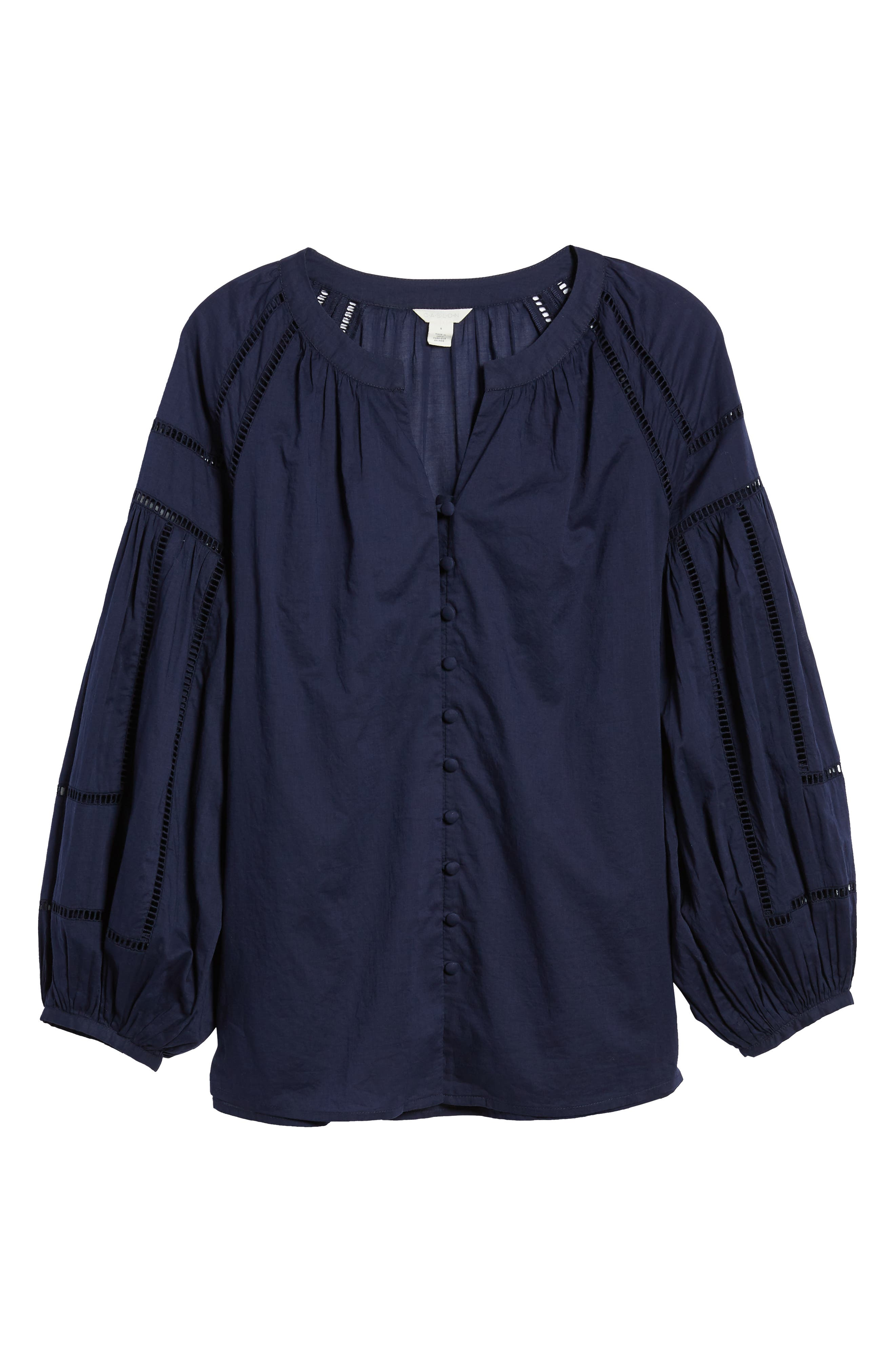 Embroidered Peasant Sleeve Top,                             Alternate thumbnail 6, color,                             NAVY PEACOAT