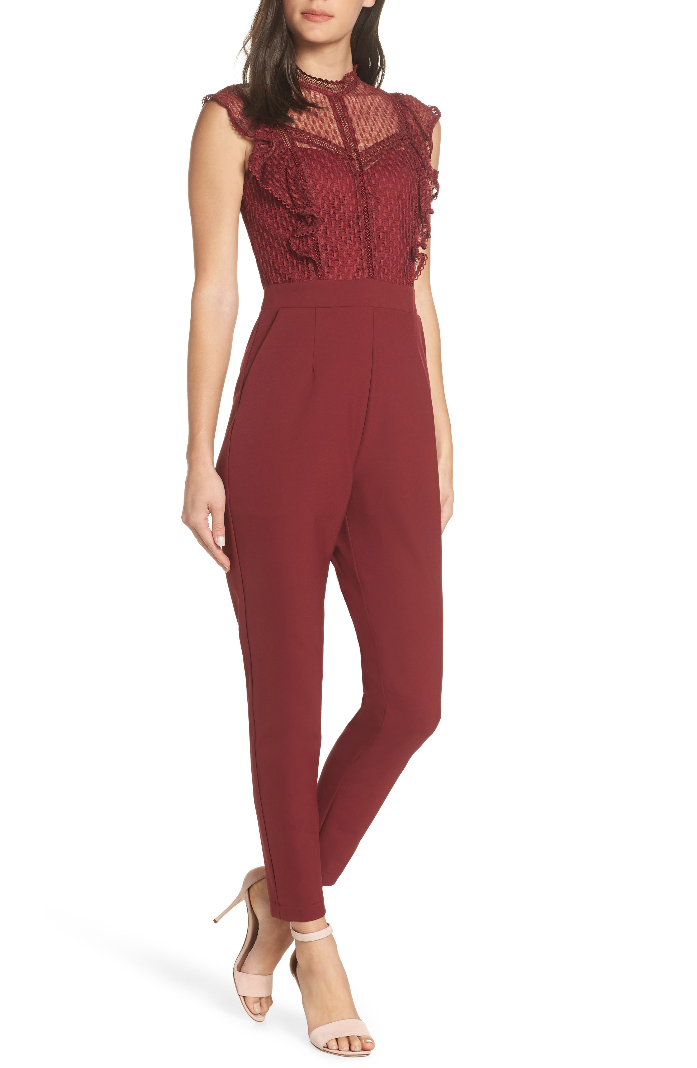 ADELYN RAE Grady Jumpsuit in Cabernet