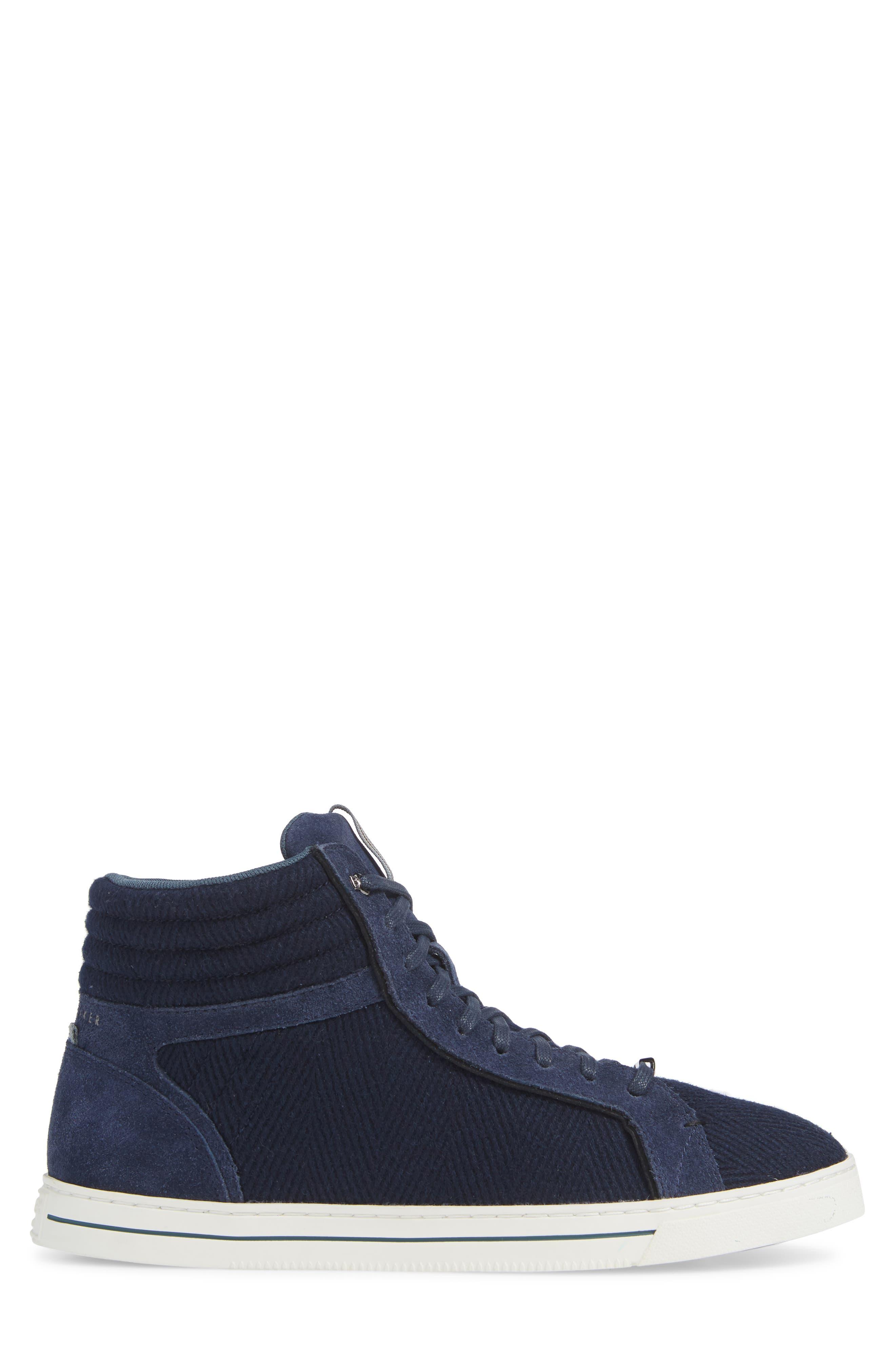 Luckan High Top Sneaker,                             Alternate thumbnail 3, color,                             DARK BLUE FABRIC