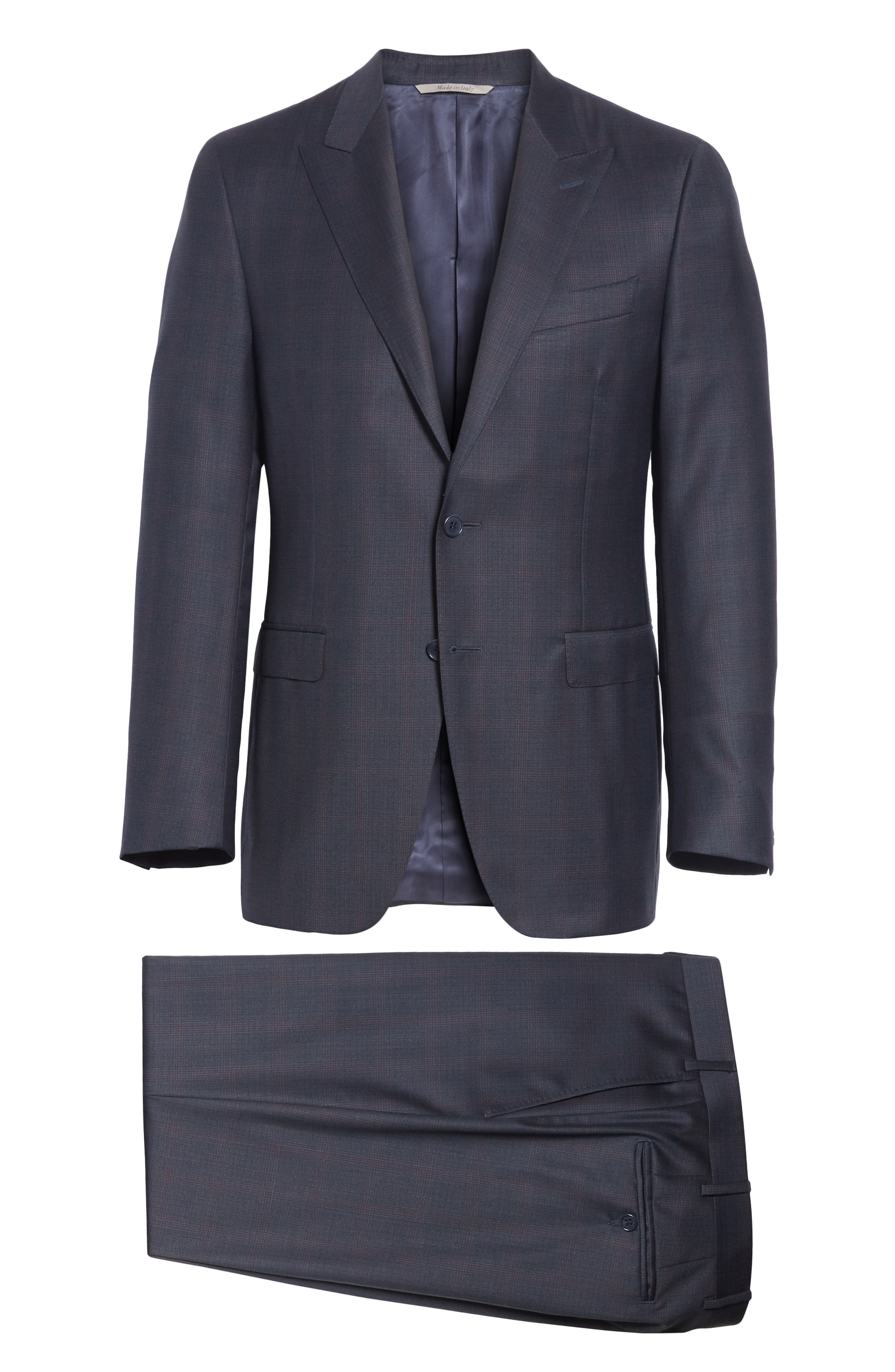 Milano Classic Fit Plaid Wool Suit,                             Alternate thumbnail 8, color,                             NAVY