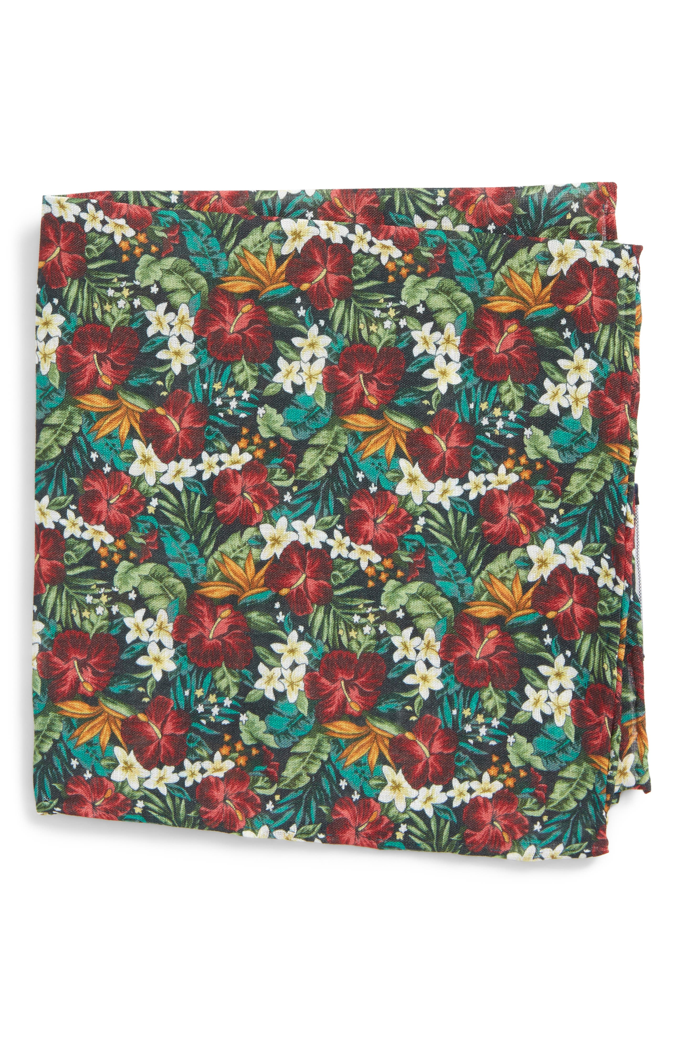 Tropic Fever Linen Pocket Square,                             Main thumbnail 1, color,                             001