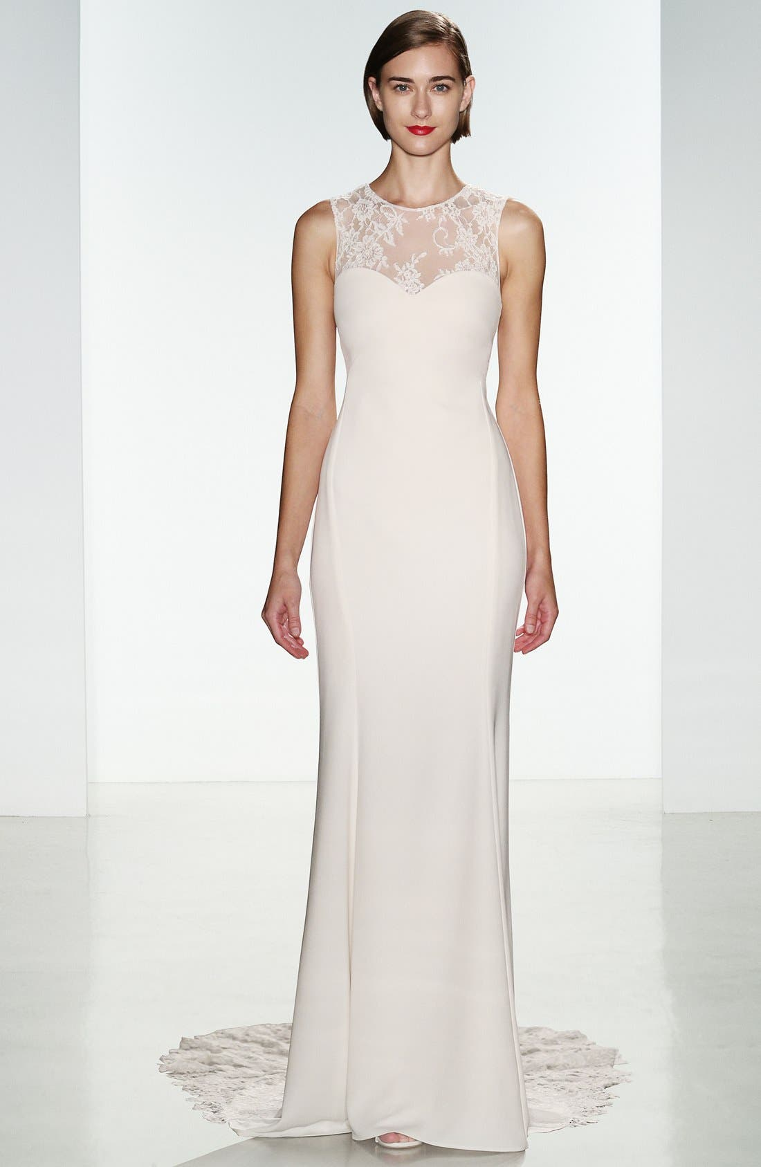 Myka Sleeveless Illusion Lace & Crepe Column Gown,                             Alternate thumbnail 4, color,                             IVORY
