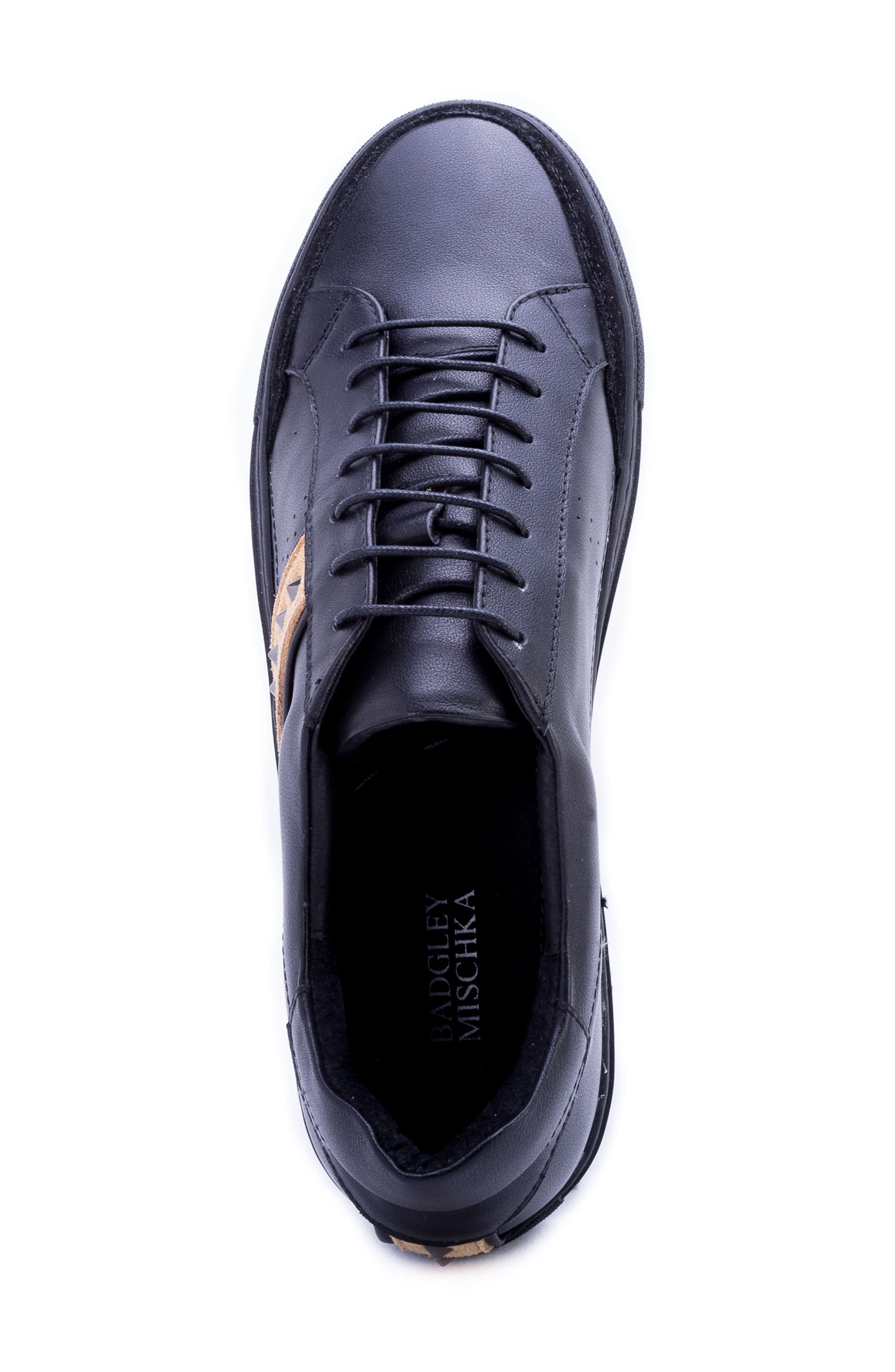 Badgley Mischka Connery Sneaker,                             Alternate thumbnail 5, color,                             BLACK LEATHER