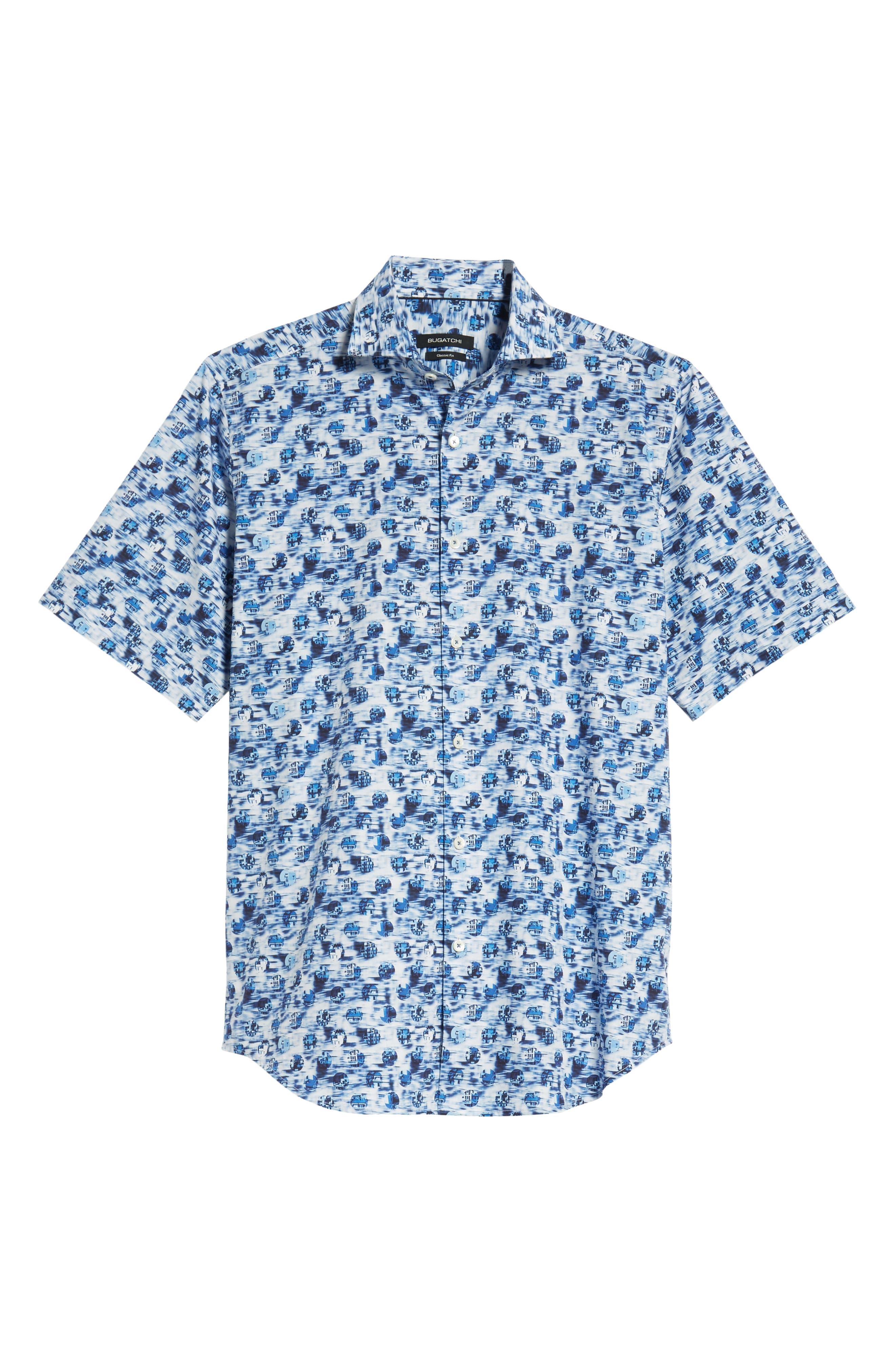 BUGATCHI,                             Classic Fit Print Sport Shirt,                             Alternate thumbnail 5, color,                             DUSTY BLUE