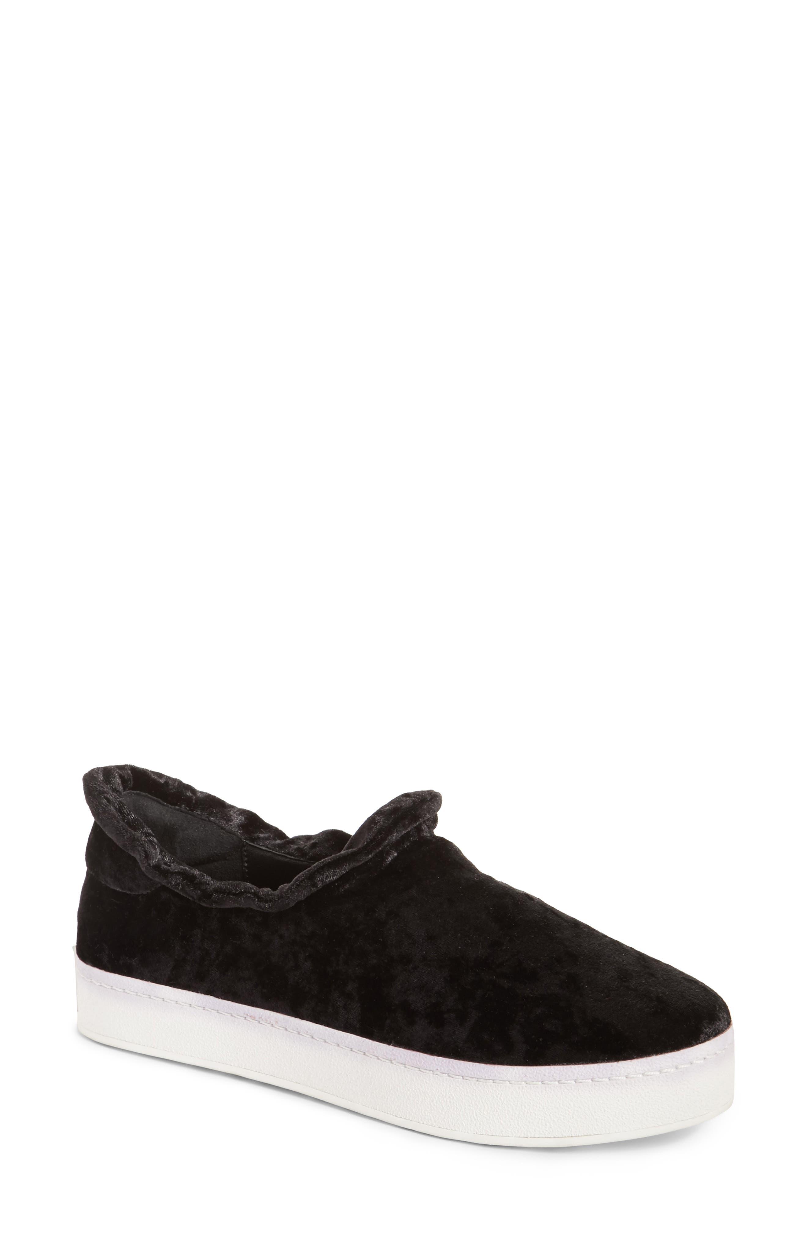 Cici Velvet Ruffle Slip-On Sneaker,                             Main thumbnail 1, color,                             001