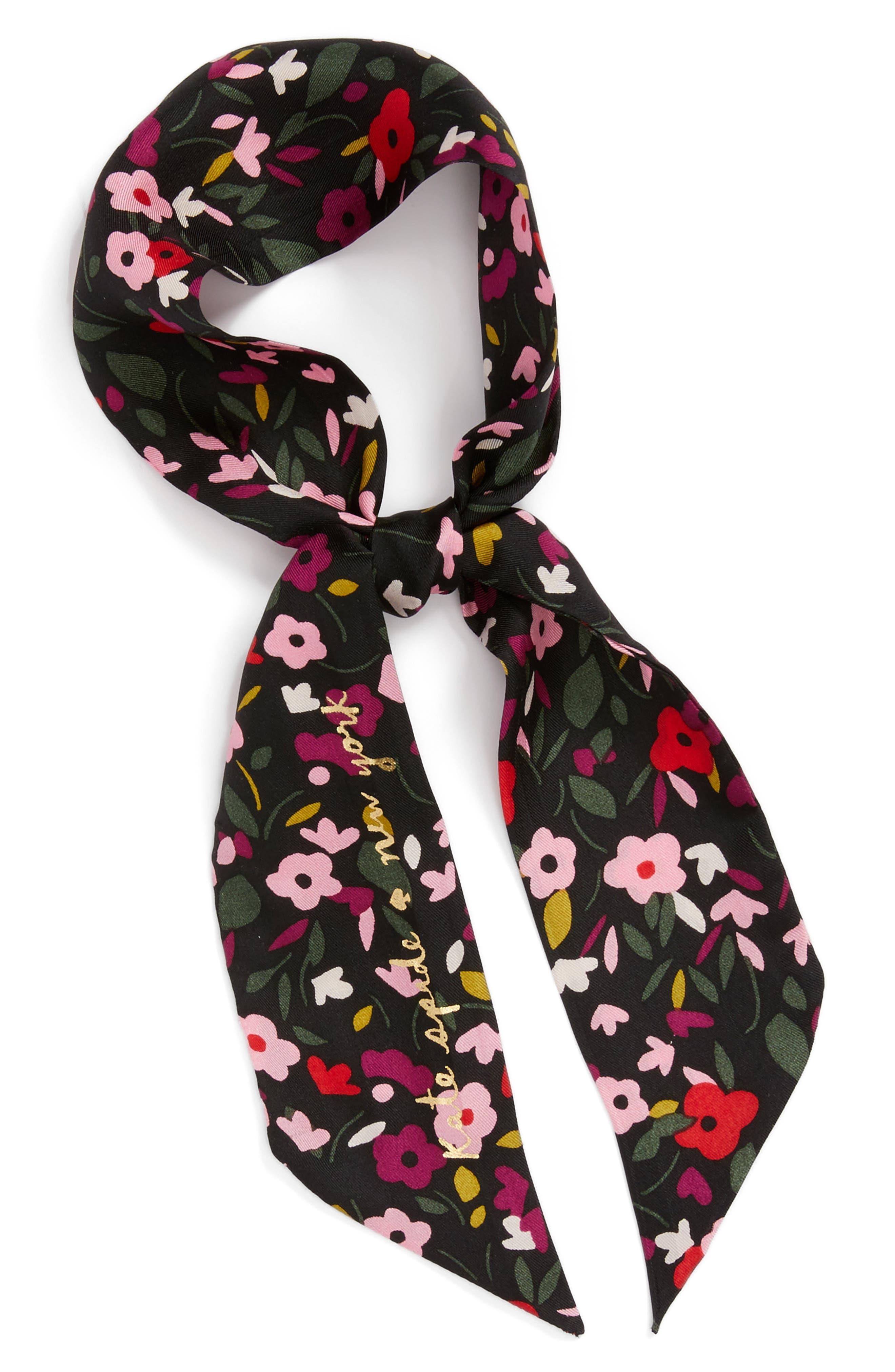 bohemian floral silk skinny scarf,                             Alternate thumbnail 2, color,                             001