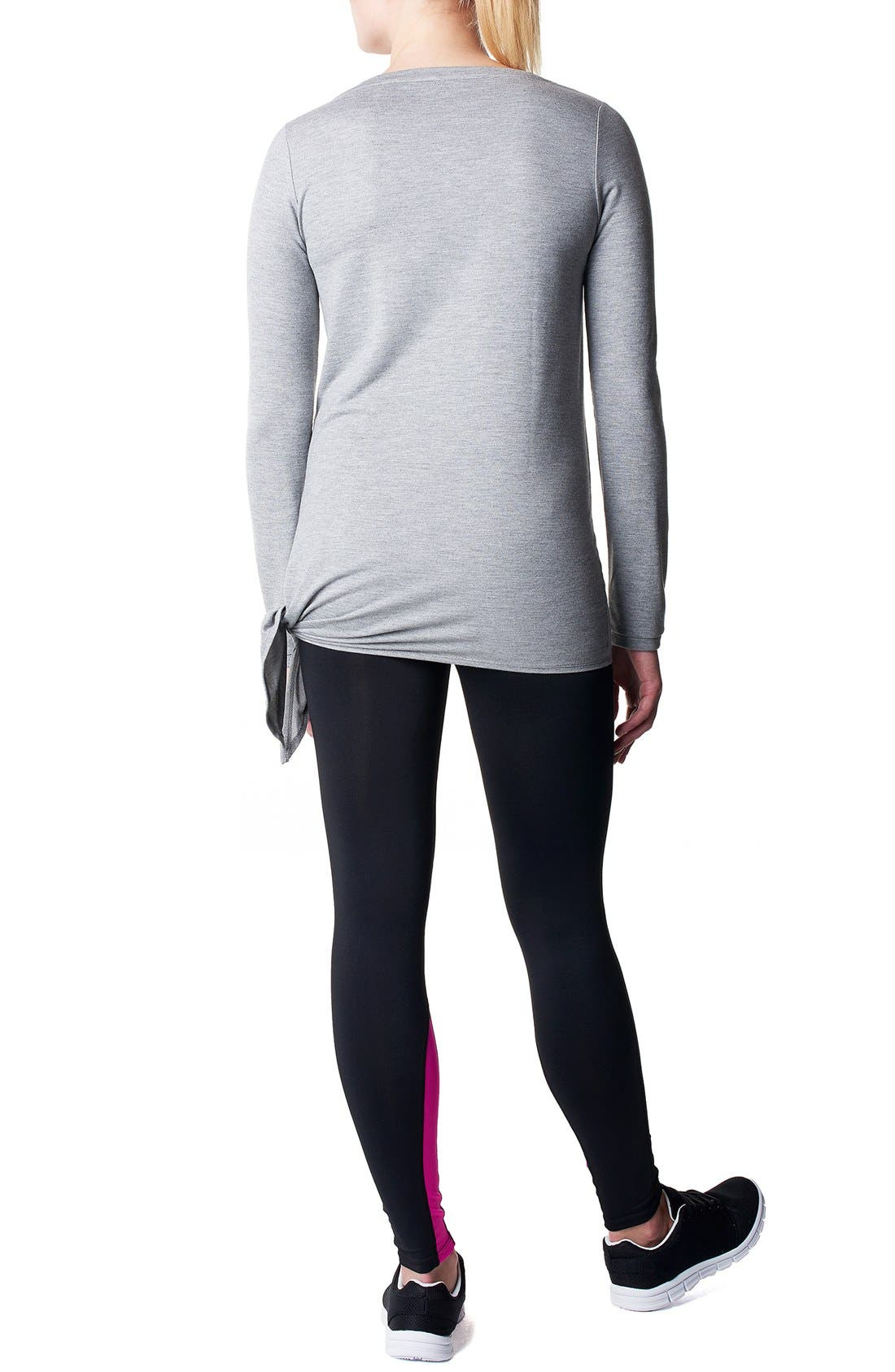 'Heather' Athletic Long Sleeve Maternity Top,                             Alternate thumbnail 2, color,                             GREY MELANGE