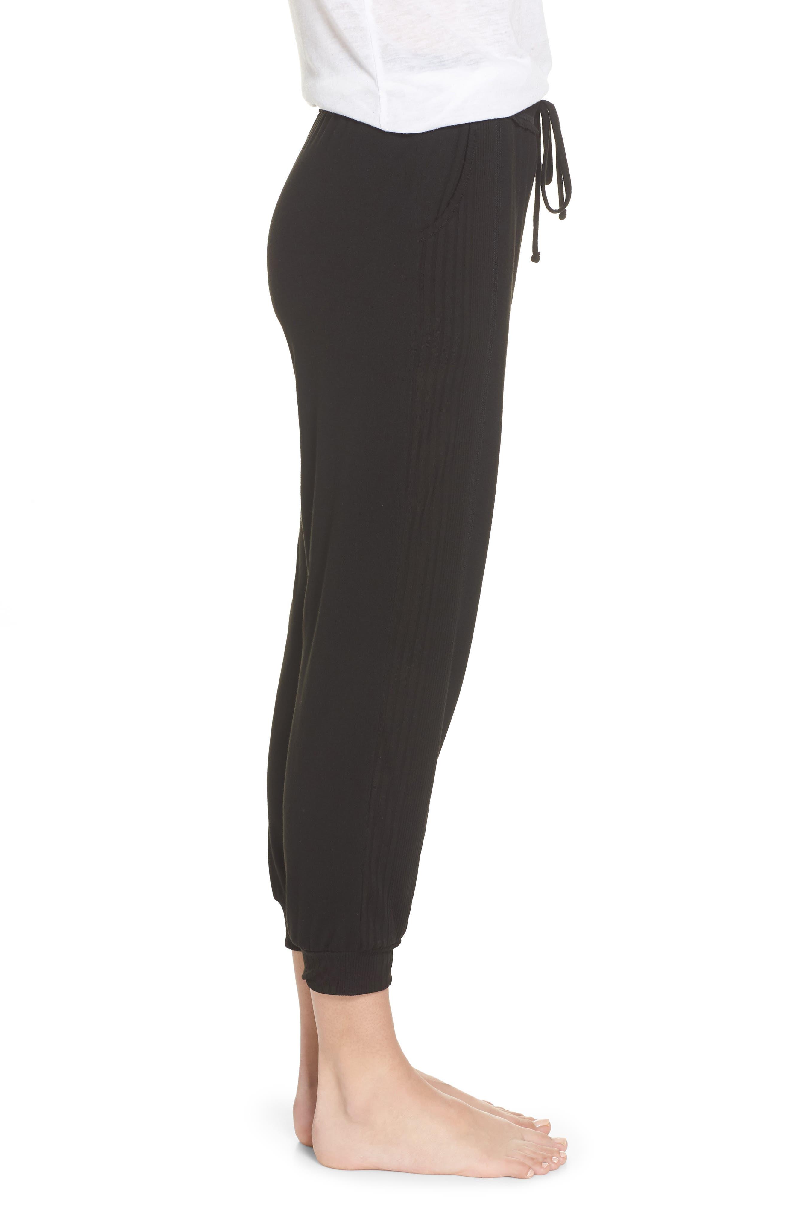 Crop Pajama Pants,                             Alternate thumbnail 3, color,                             BLACK