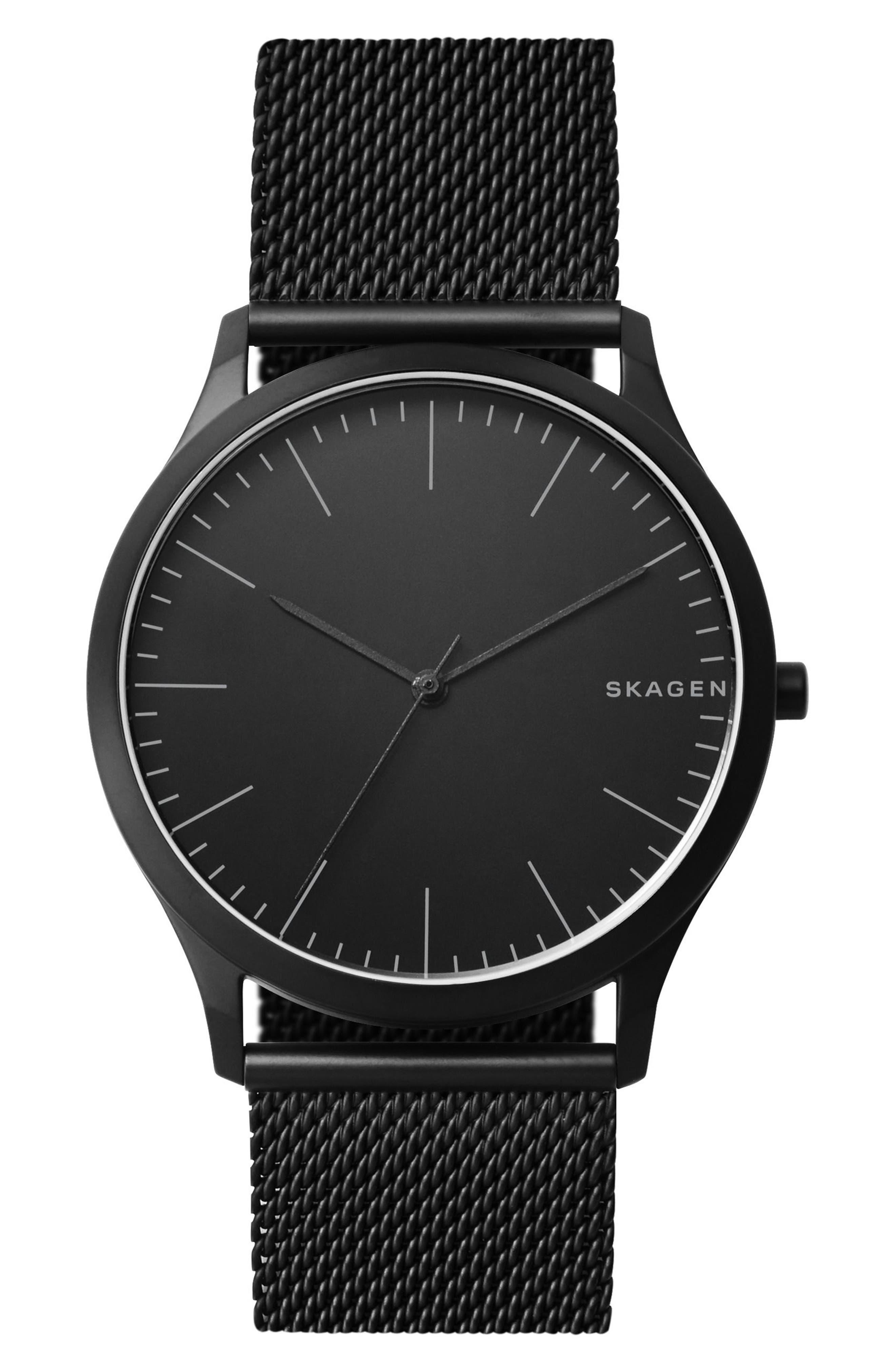Jorn Mesh Strap Watch, 41mm,                         Main,                         color, BLACK