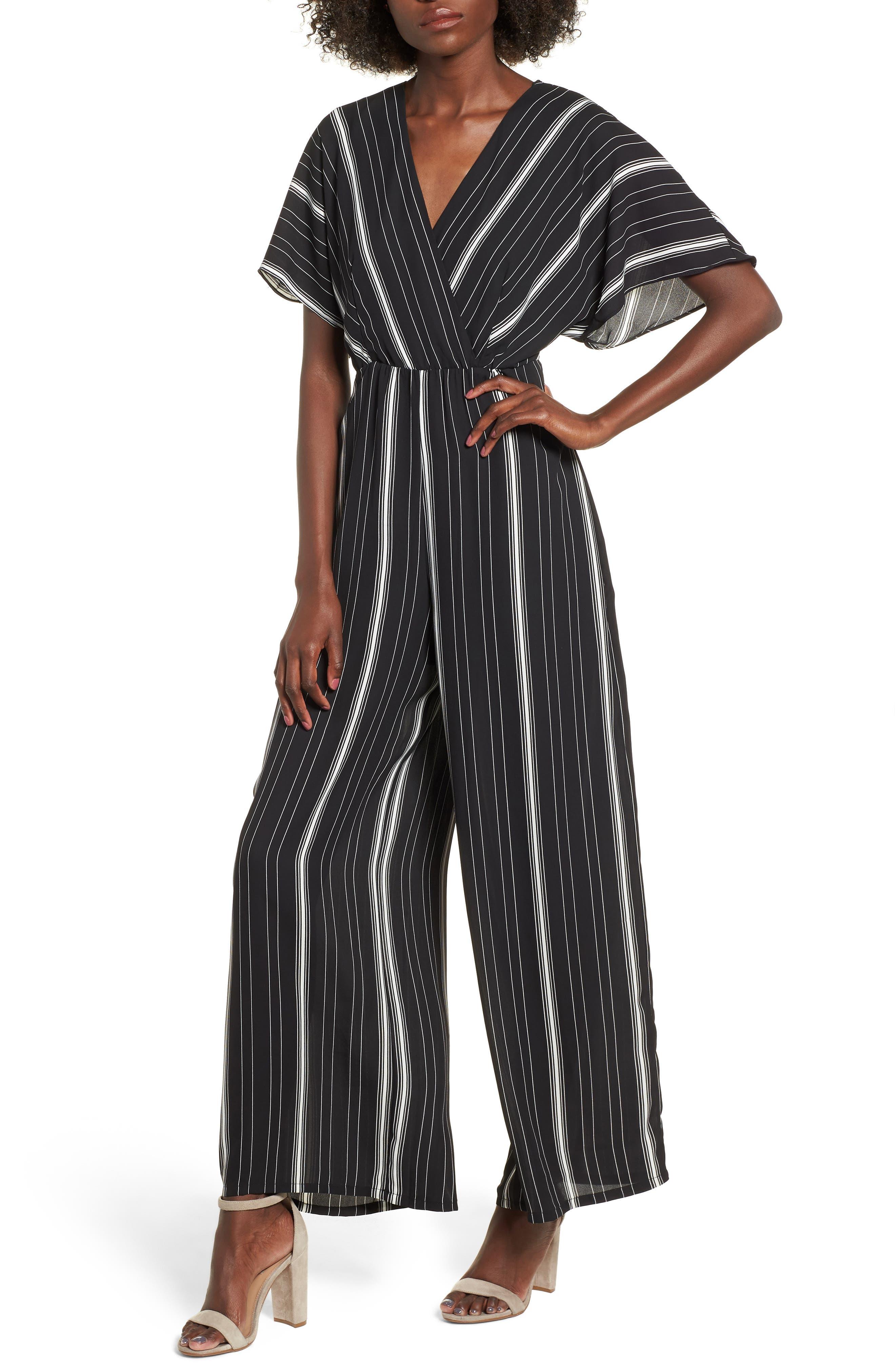 Dolman Sleeve Jumpsuit,                         Main,                         color, BLACK TRACY STRIPE