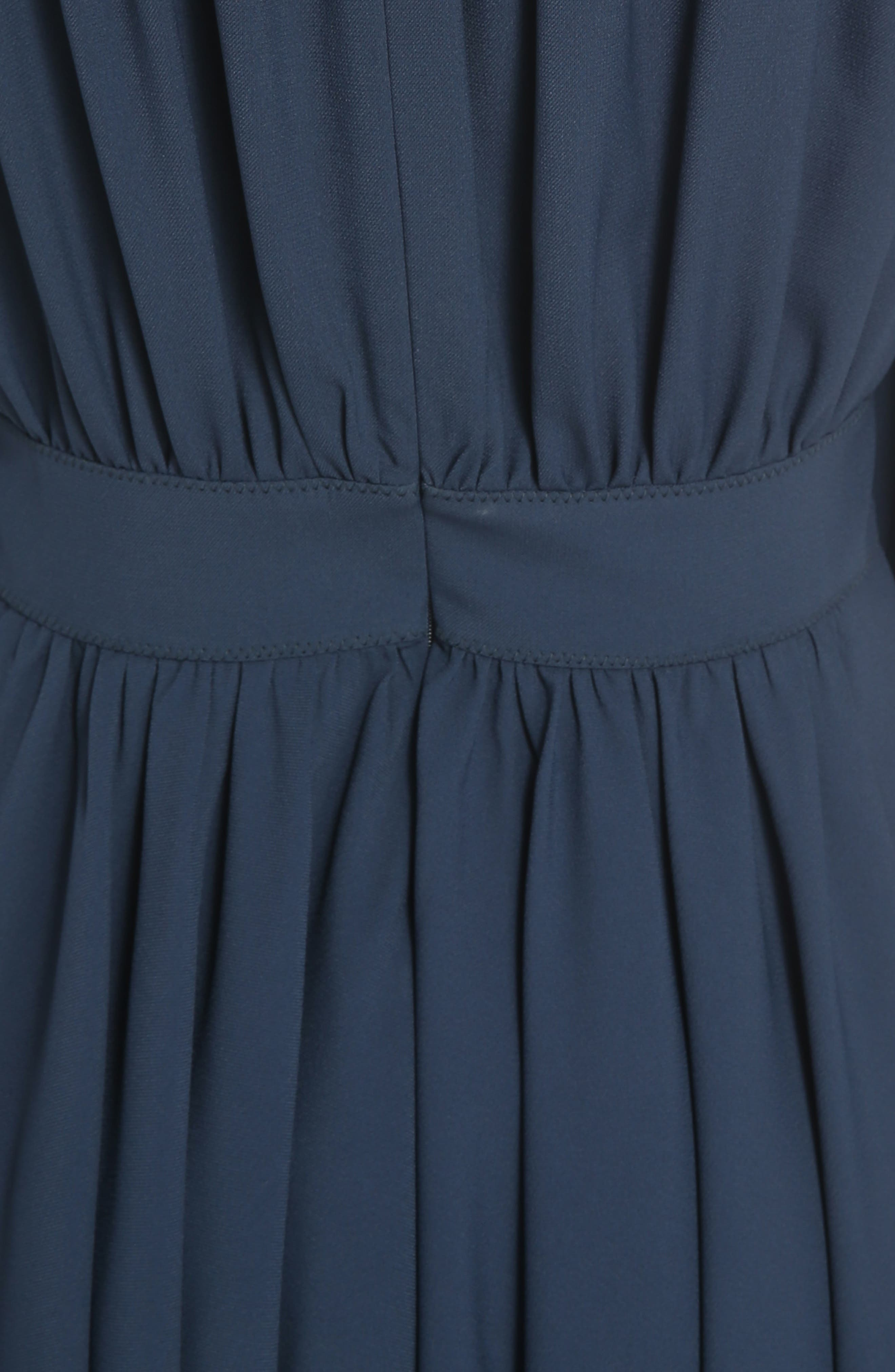 Pleated Tie Cuff Cady Dress,                             Alternate thumbnail 5, color,                             401