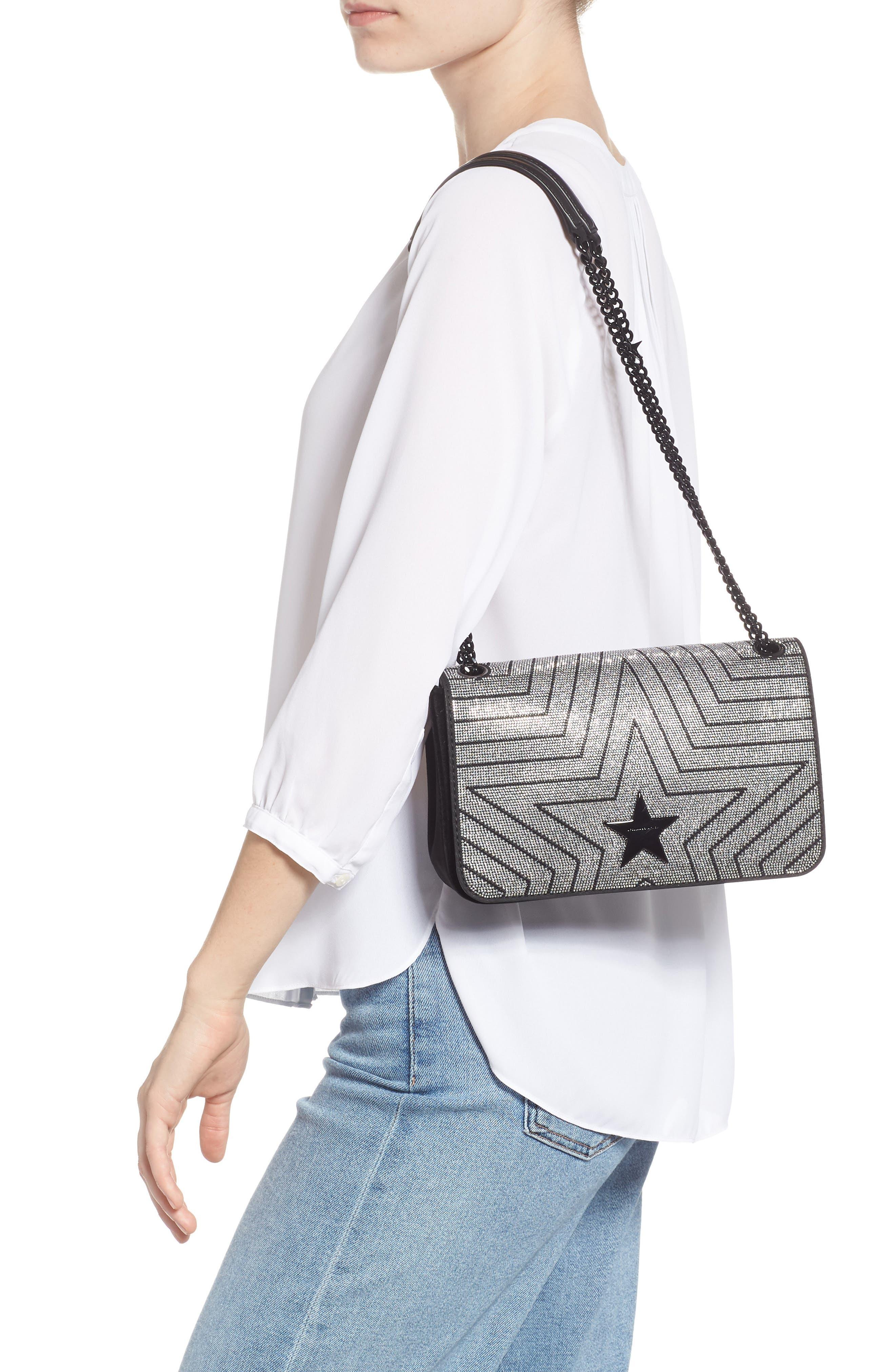 Medium Crystal Star Shoulder Bag,                             Alternate thumbnail 2, color,                             BLACK