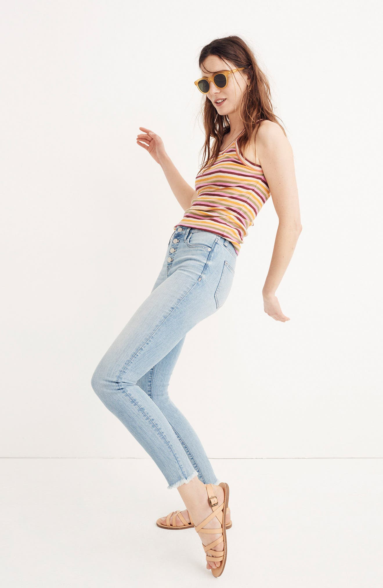MADEWELL,                             Button Front High Waist Crop Skinny Jeans,                             Alternate thumbnail 6, color,                             400