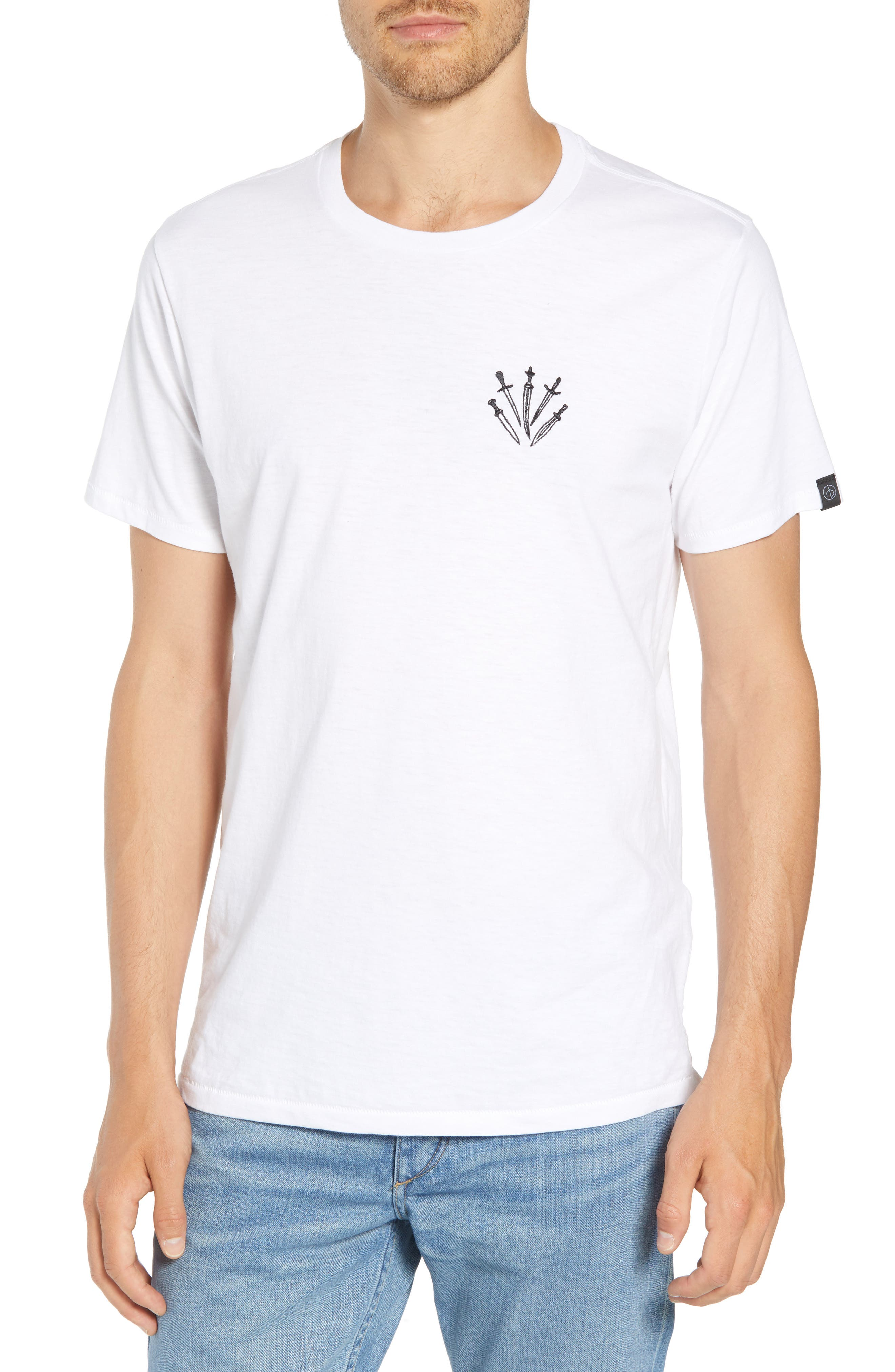 Dagger Embroidered T-Shirt,                             Main thumbnail 1, color,                             WHITE